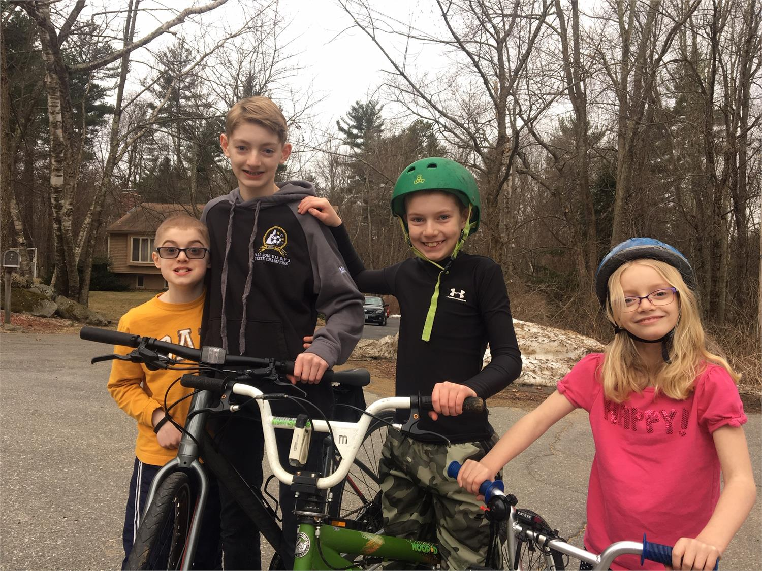 Siblings Connor, Liam, Declan, and Keely getting excited for JettRide Jr.!