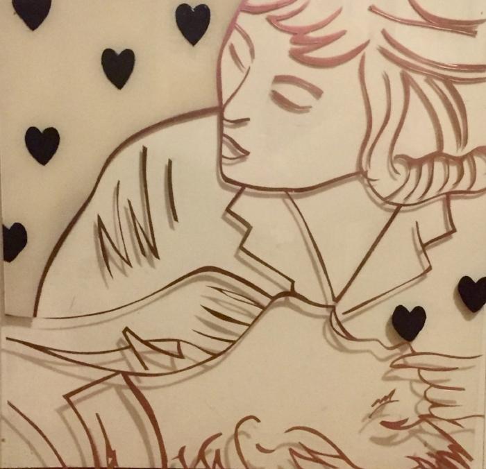 """Resuscitation"" 24x24 cut stencil on plexiglas"