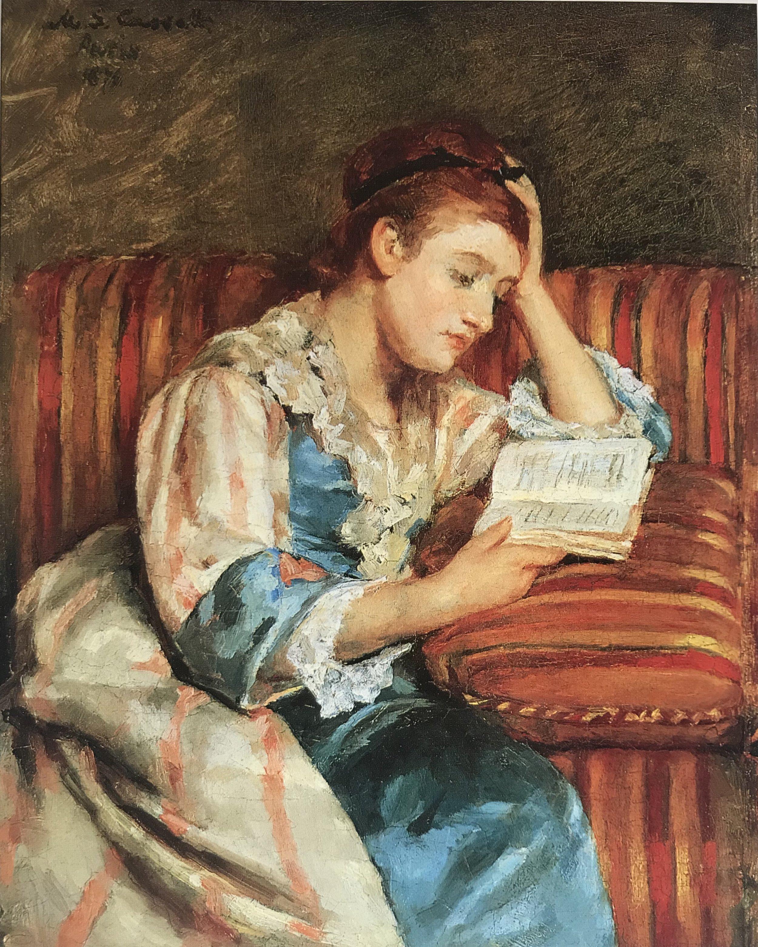 Young Woman Reading - Mary Cassatt circa 1878