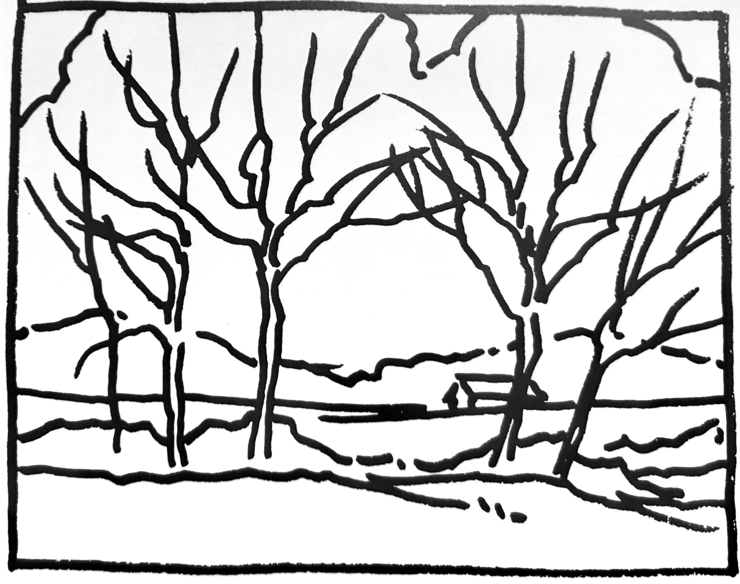 """O-SHAPE (OR U-SHAPE) - """"The basic scheme here is an O-shape; if the trees were open at the top, it would be a U-shape. This kind of scheme suggests continuous motion. Sometimes, as in this on-site sketch, it is used to frame a point of interest.""""From Painting Better Landscapes"""