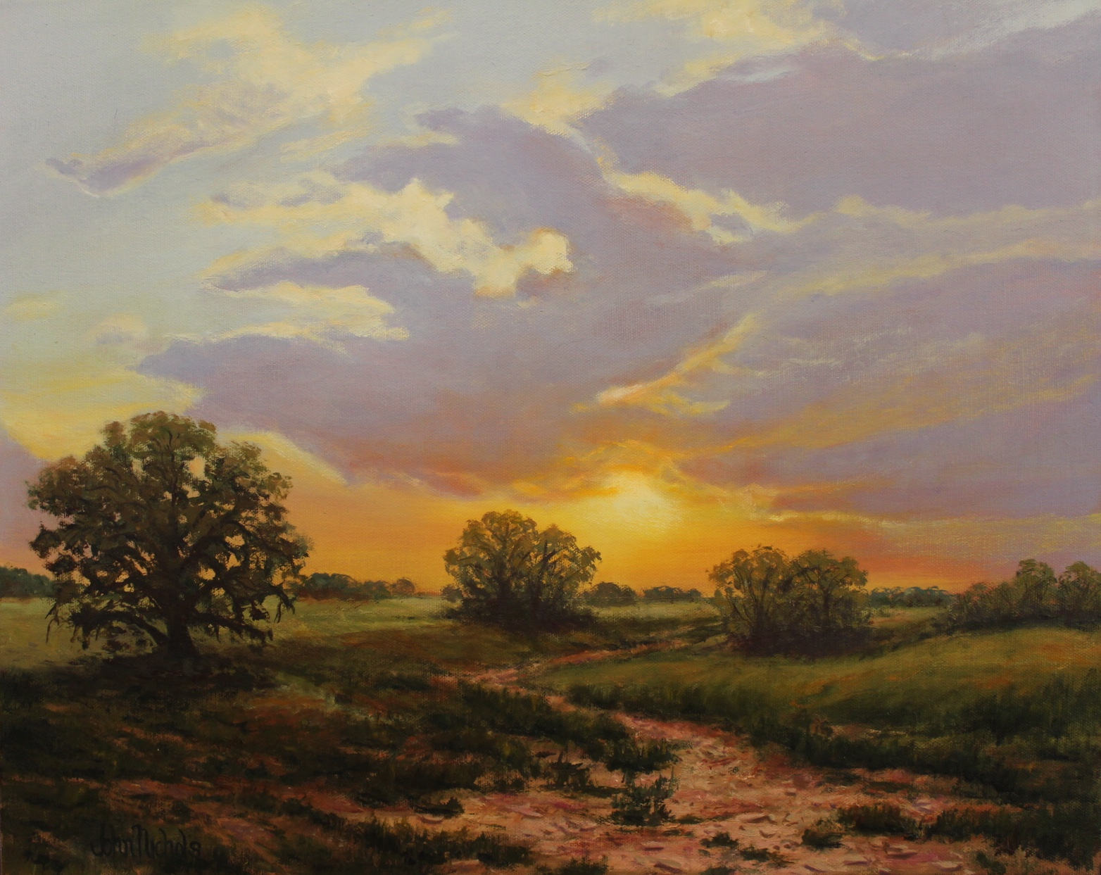 Valley Sunset, Oil by John Nichols