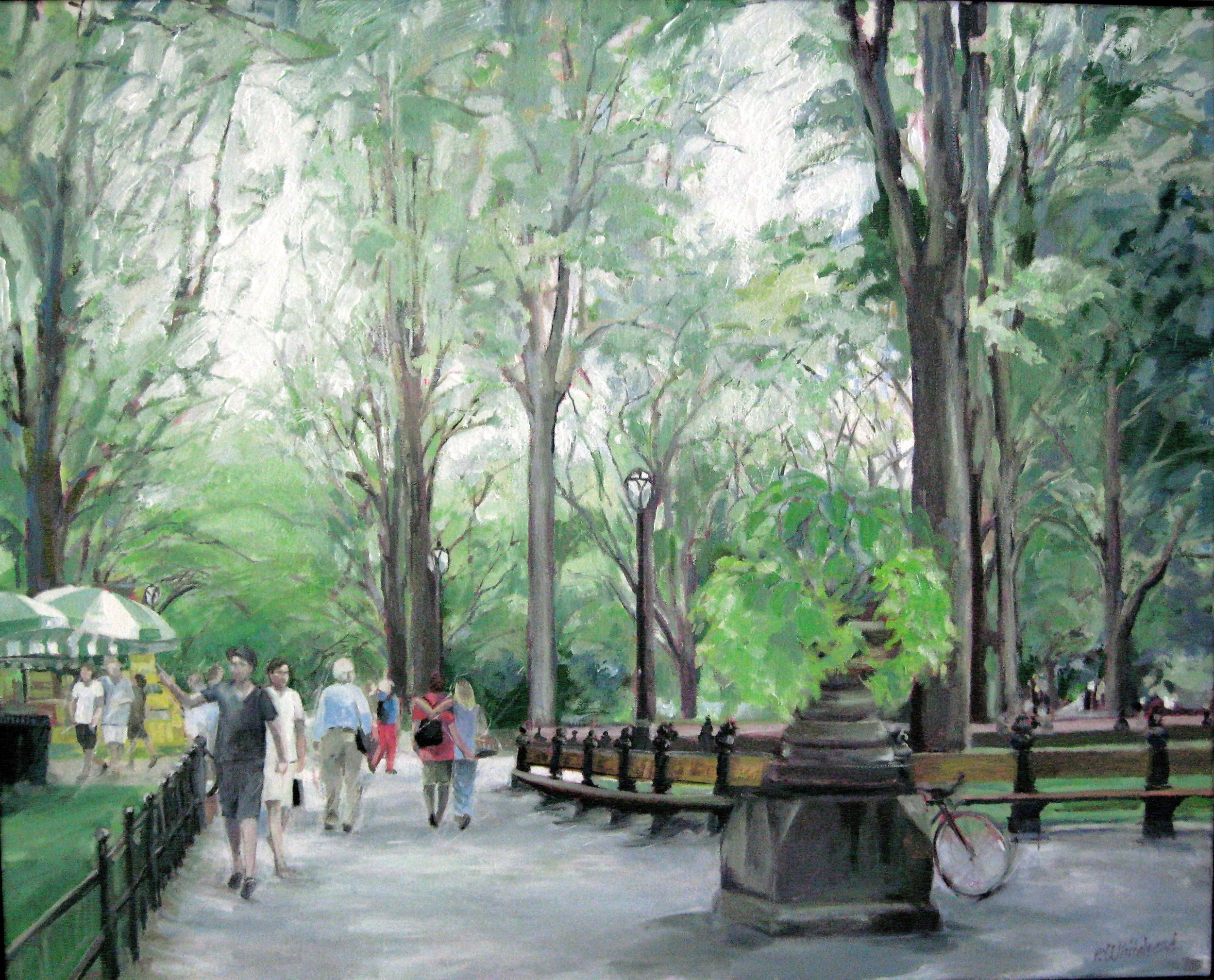 "Summer Afternoon Central Park, 30 x 24"", Oil, (sold)"