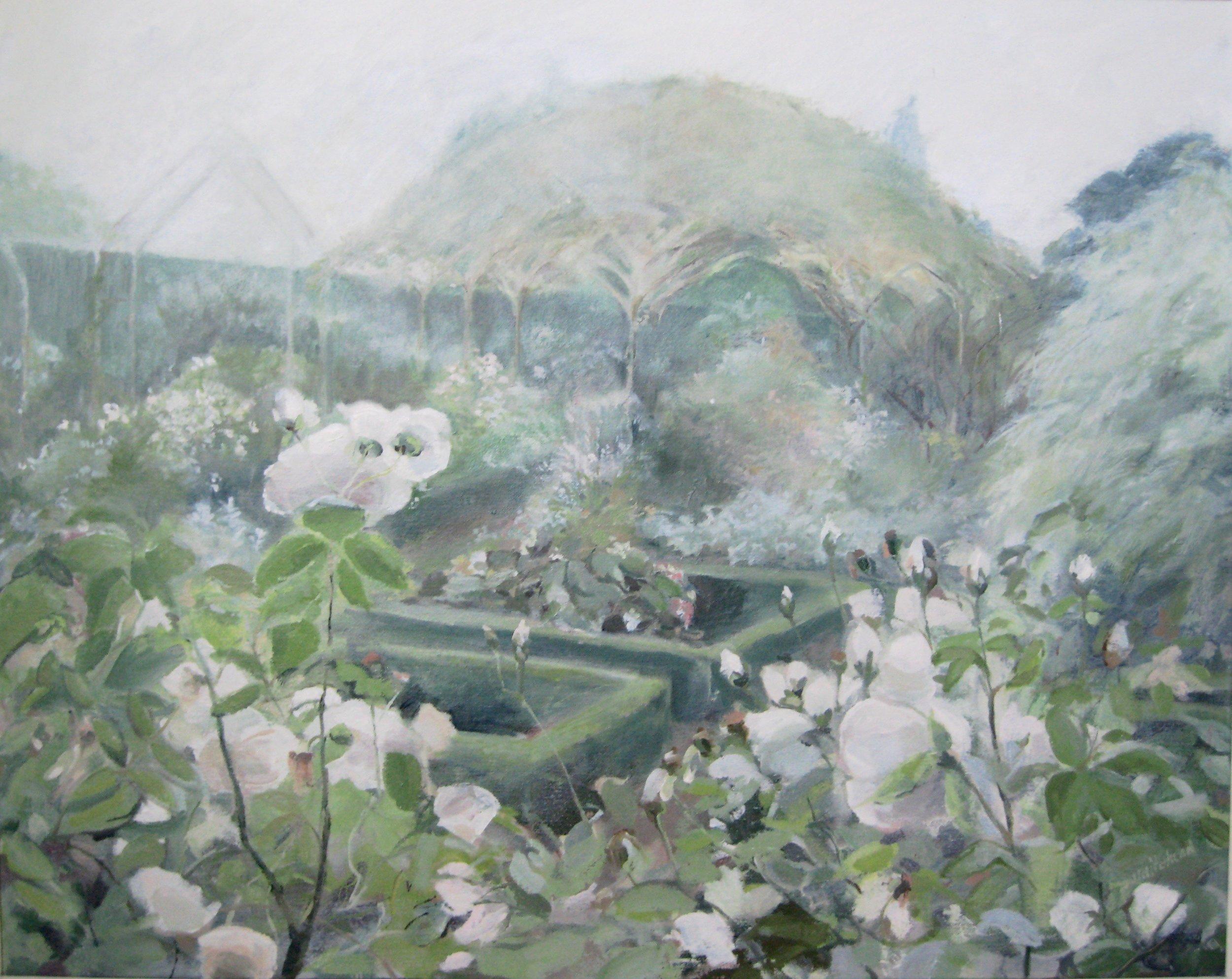 "White Garden, 30 x 24"", oil"