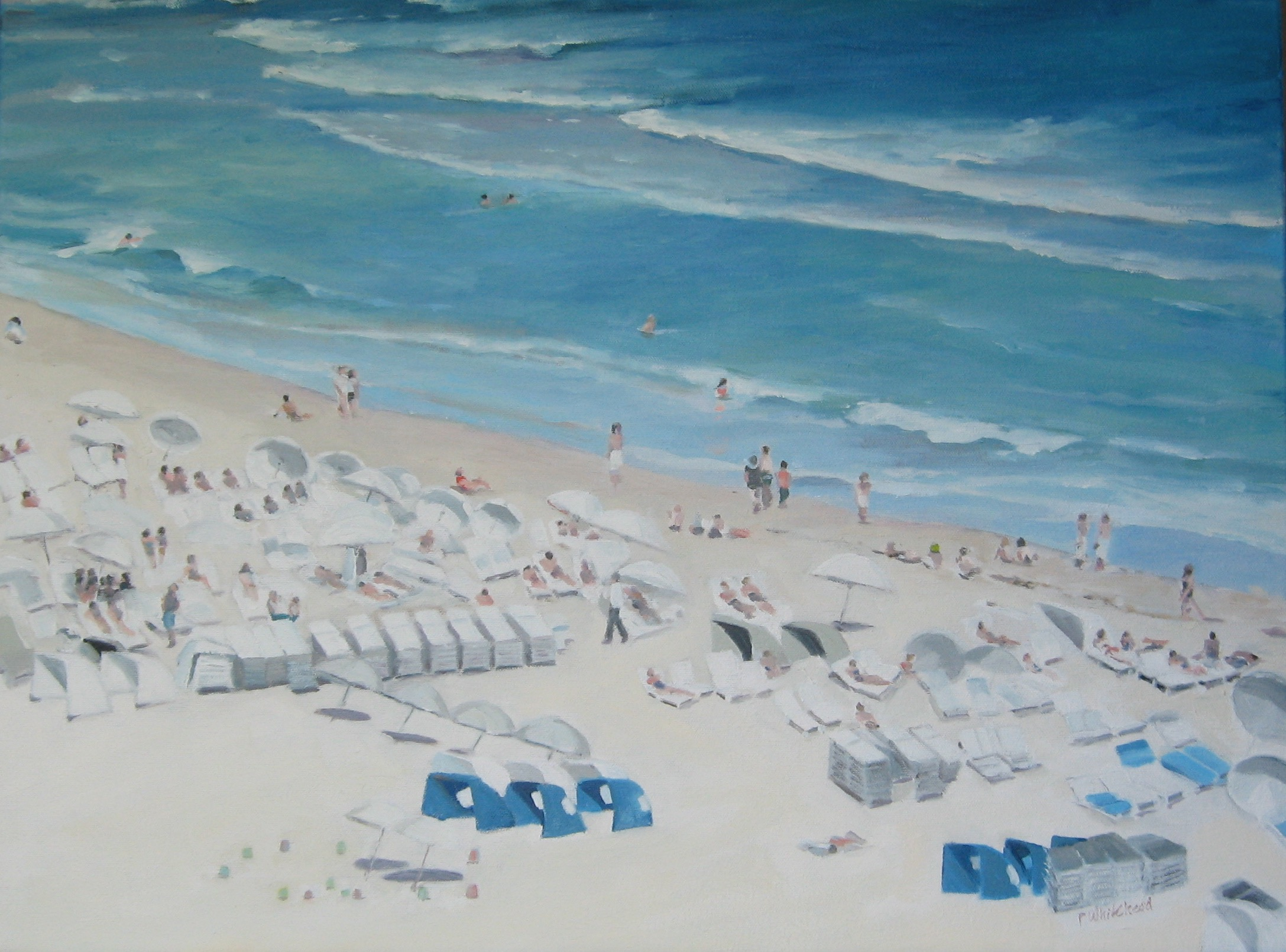 "White Umbrellas, 24 x 18"", Oil, (sold)"
