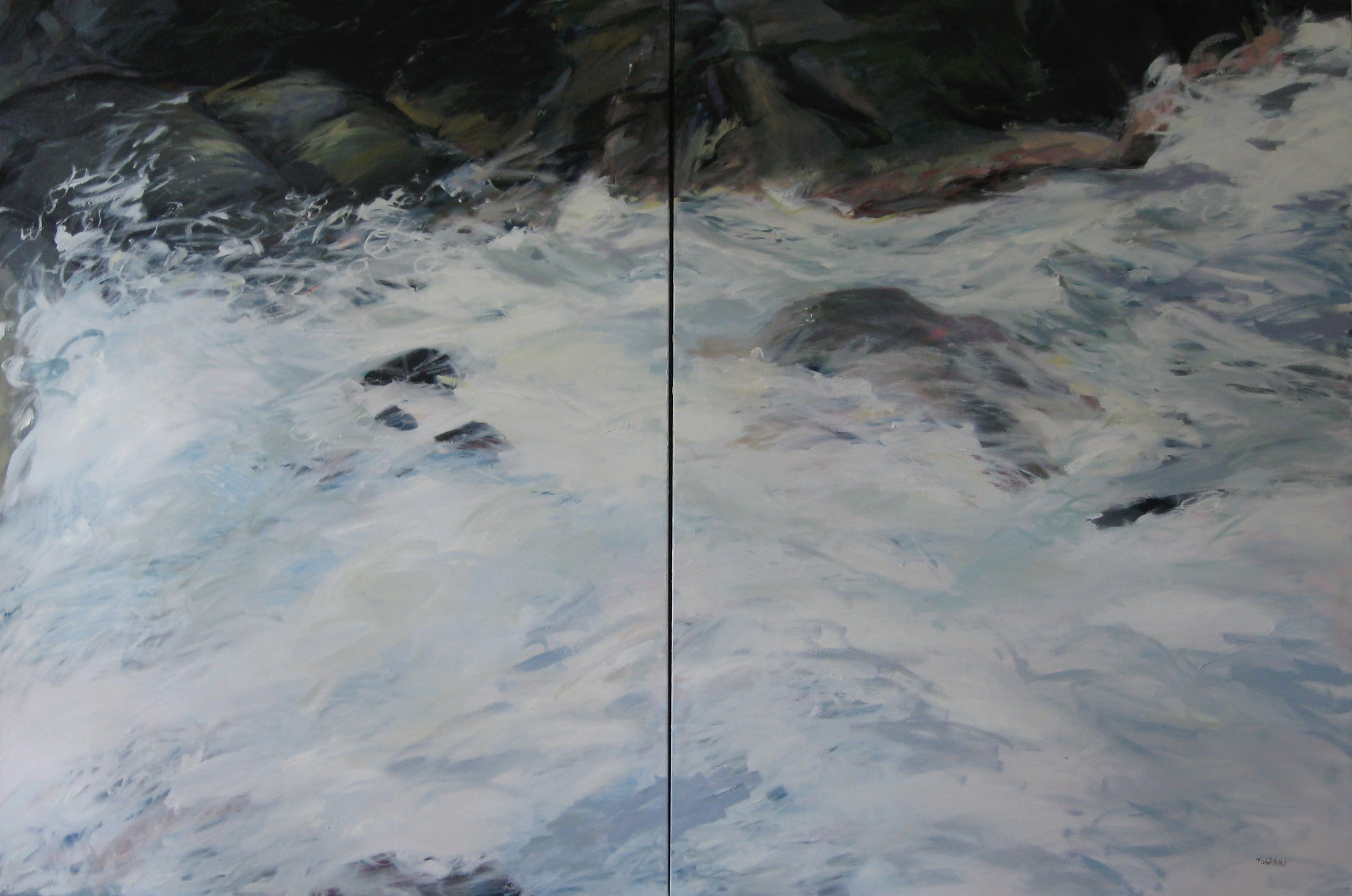 """Wave #10 diptych, 60 x 40"""", Oil"""