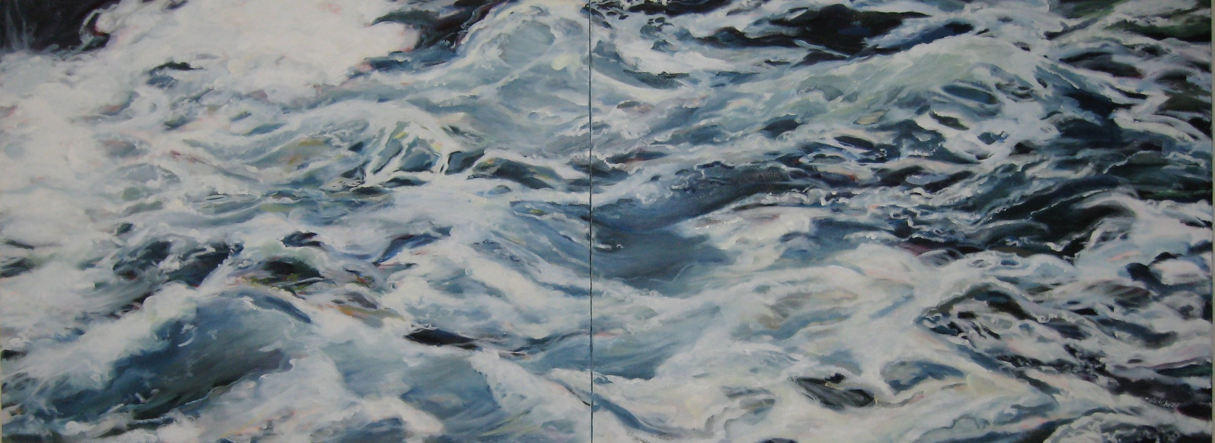 """Wave #17 diptych, 80 x 30"""", Oil (sold)"""