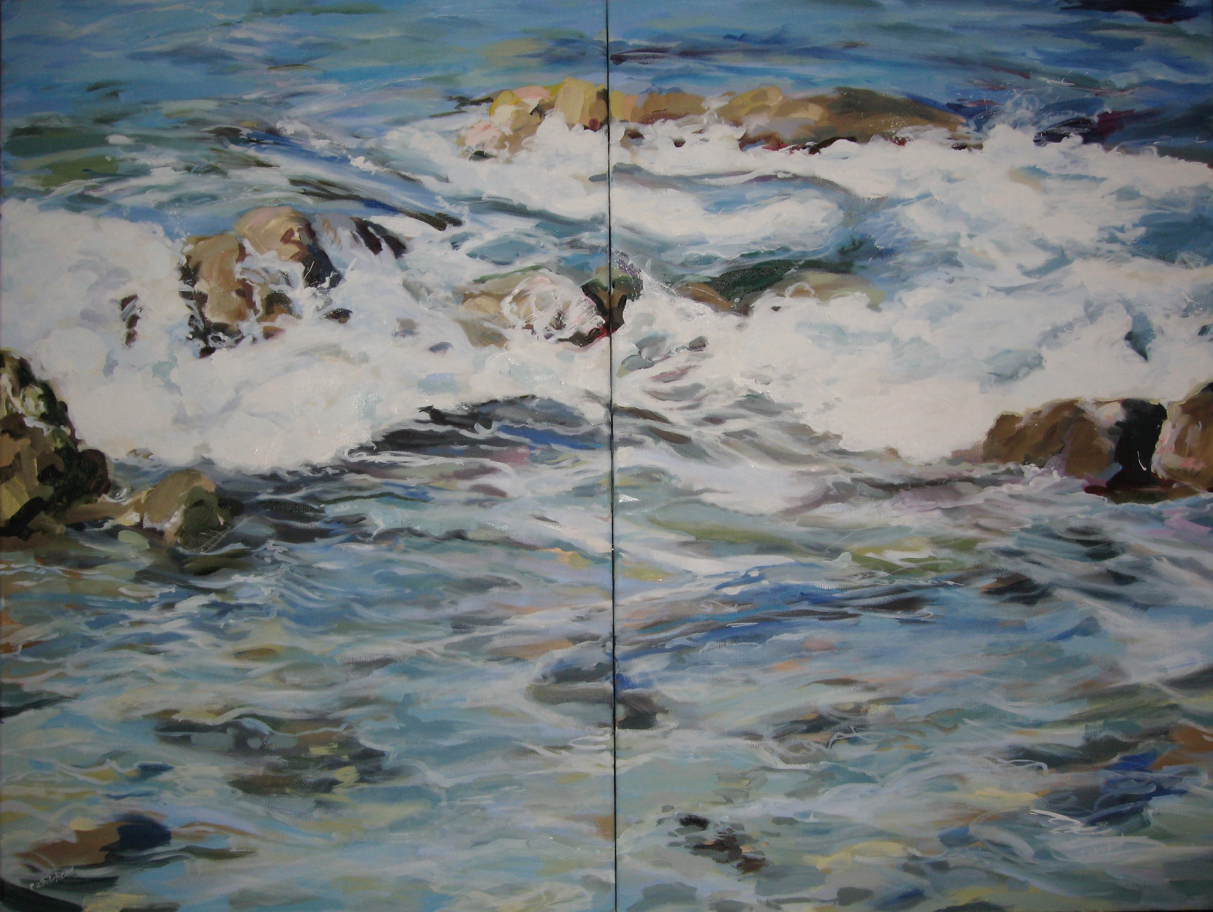 Wave #21 diptych, 40 x 30, Oil, (sold)