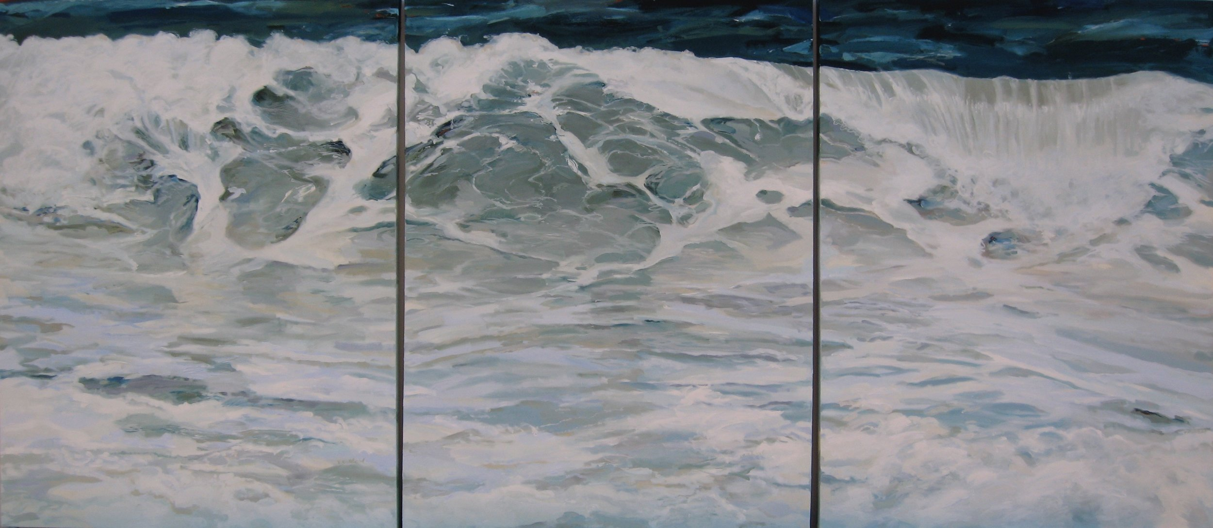 """Wave #23 Triptych, 108"""" x 48"""", Oil (sold)"""