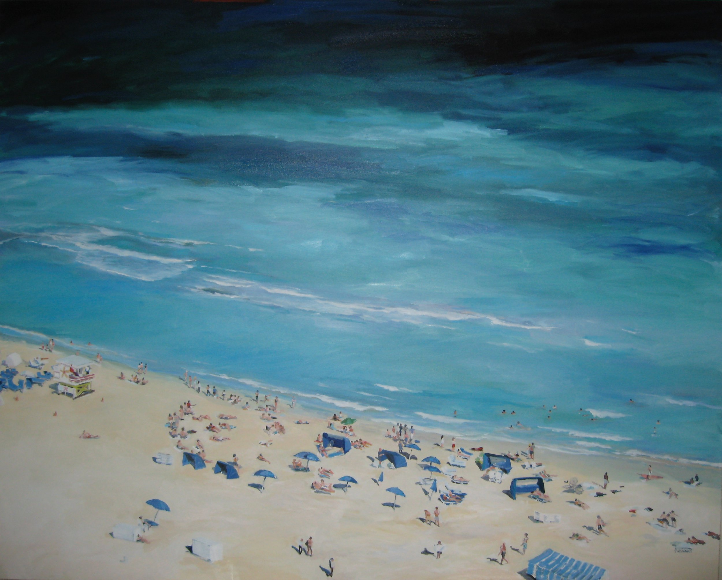 """Day at the Beach, 60 x 48"""", Oil (sold)"""