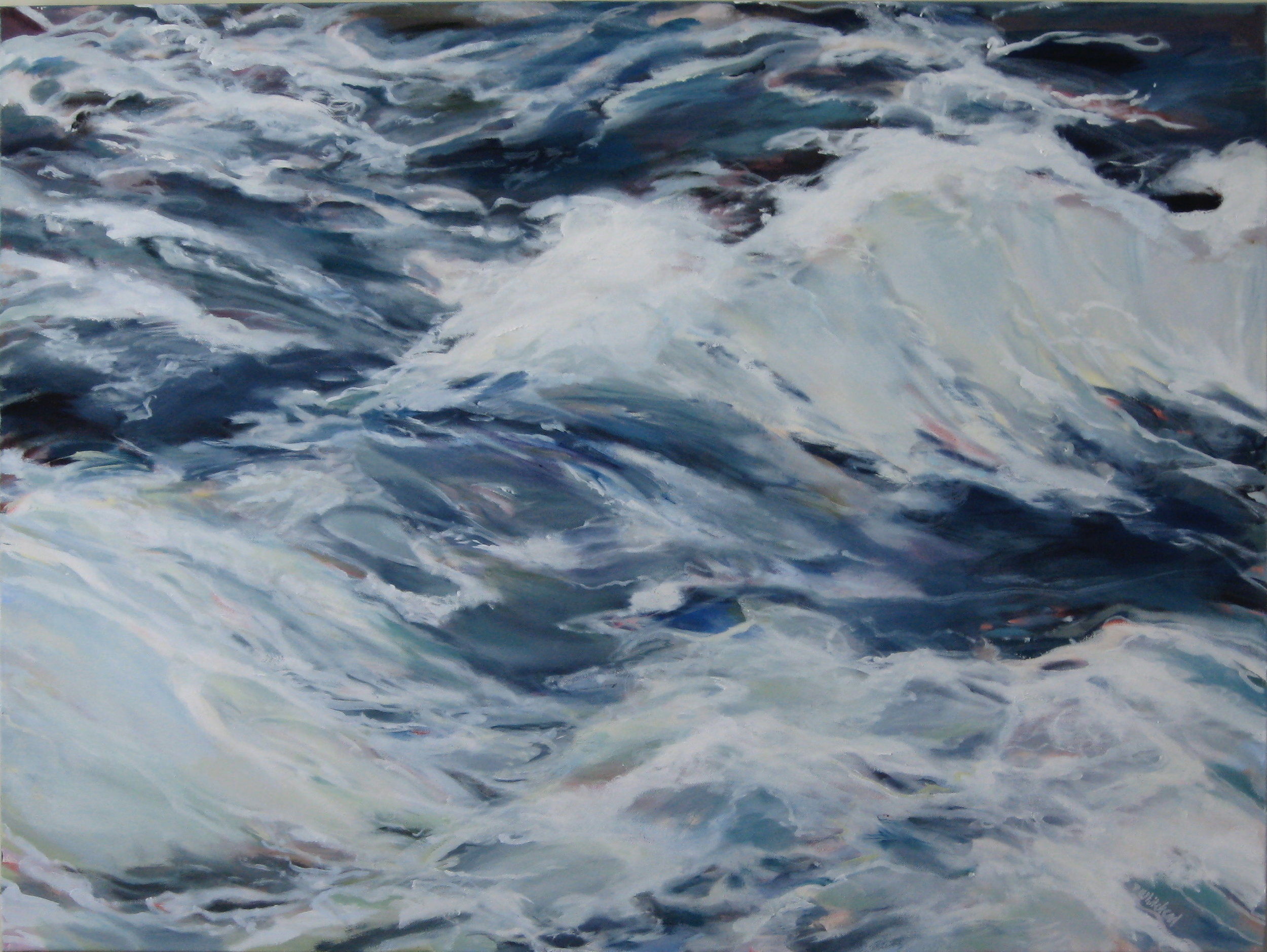 """Wave #20, 40 x 30"""", Oil, (sold)"""