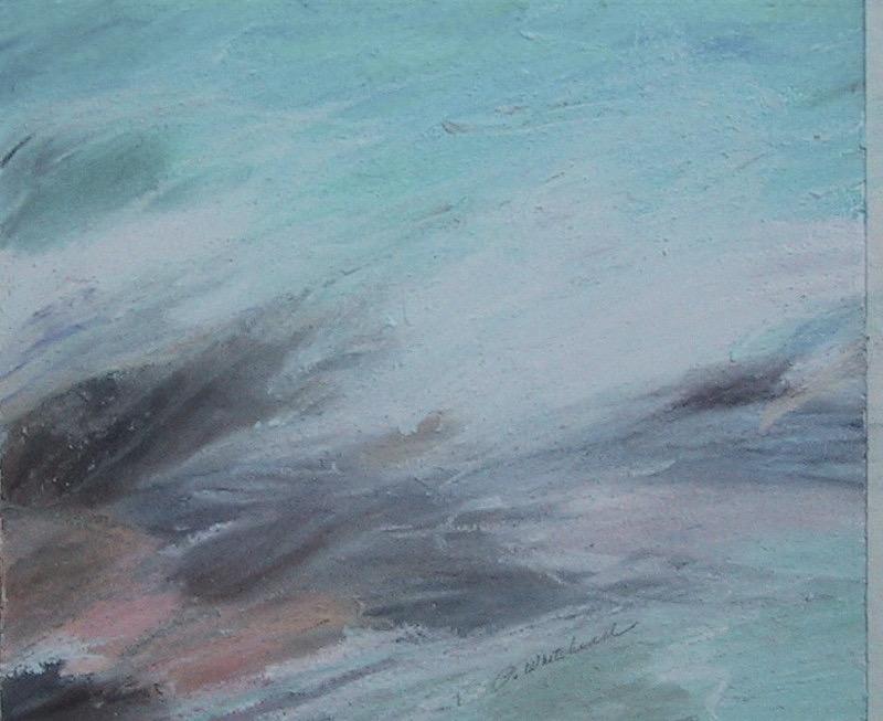 Caribbean Waves #1, 6 x 5, pastel