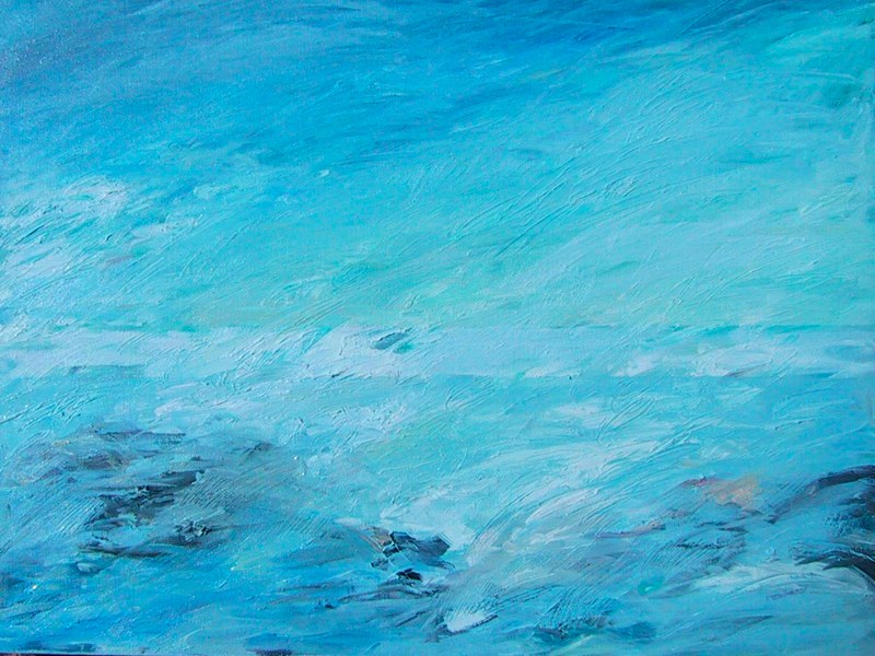 Abstract, Caribbean Wave #3, 24 x 18, Oil, (sold)