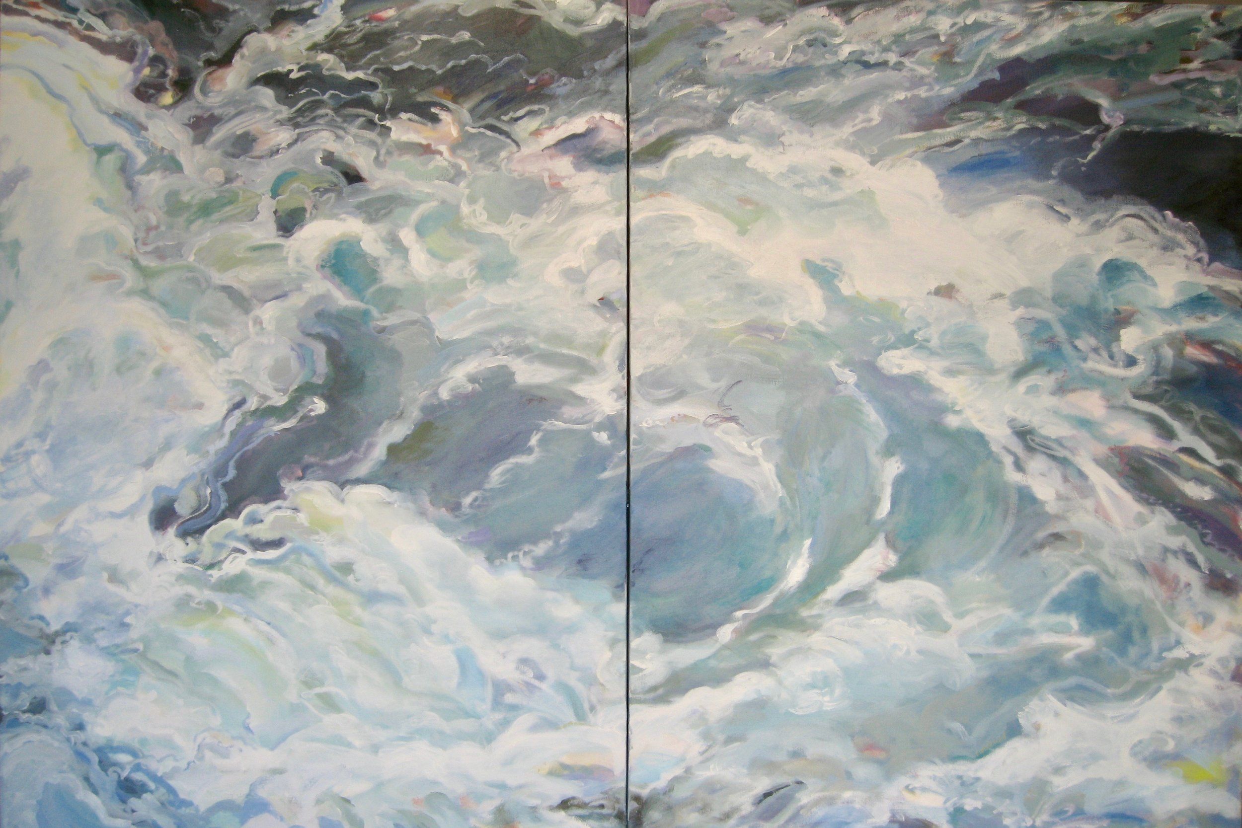 """Wave #13, diptych, 60 x 40"""", Oil (sold)"""
