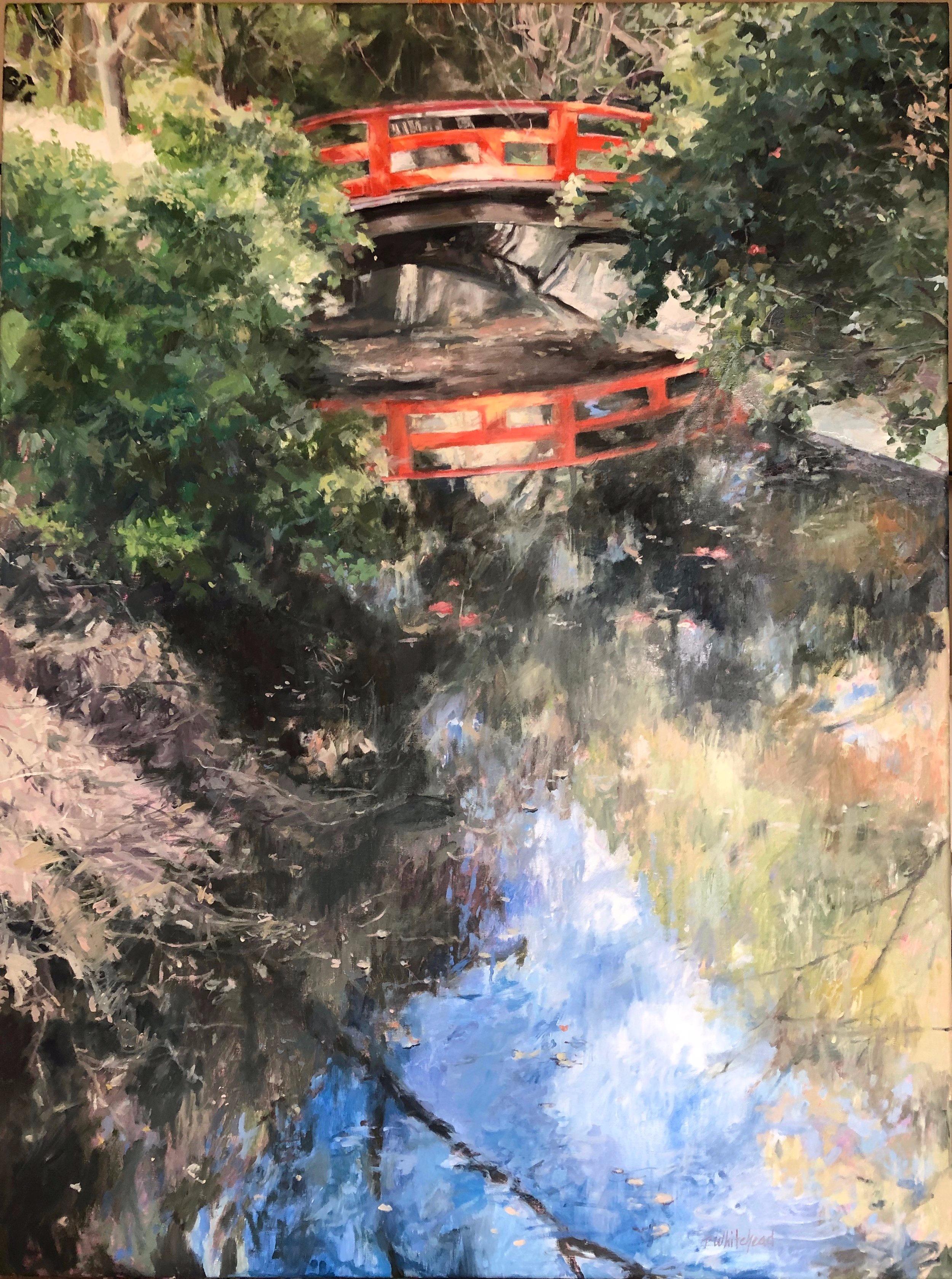 "Descanso: The Red Bridge, 40 x 30"", Oil (sold)"