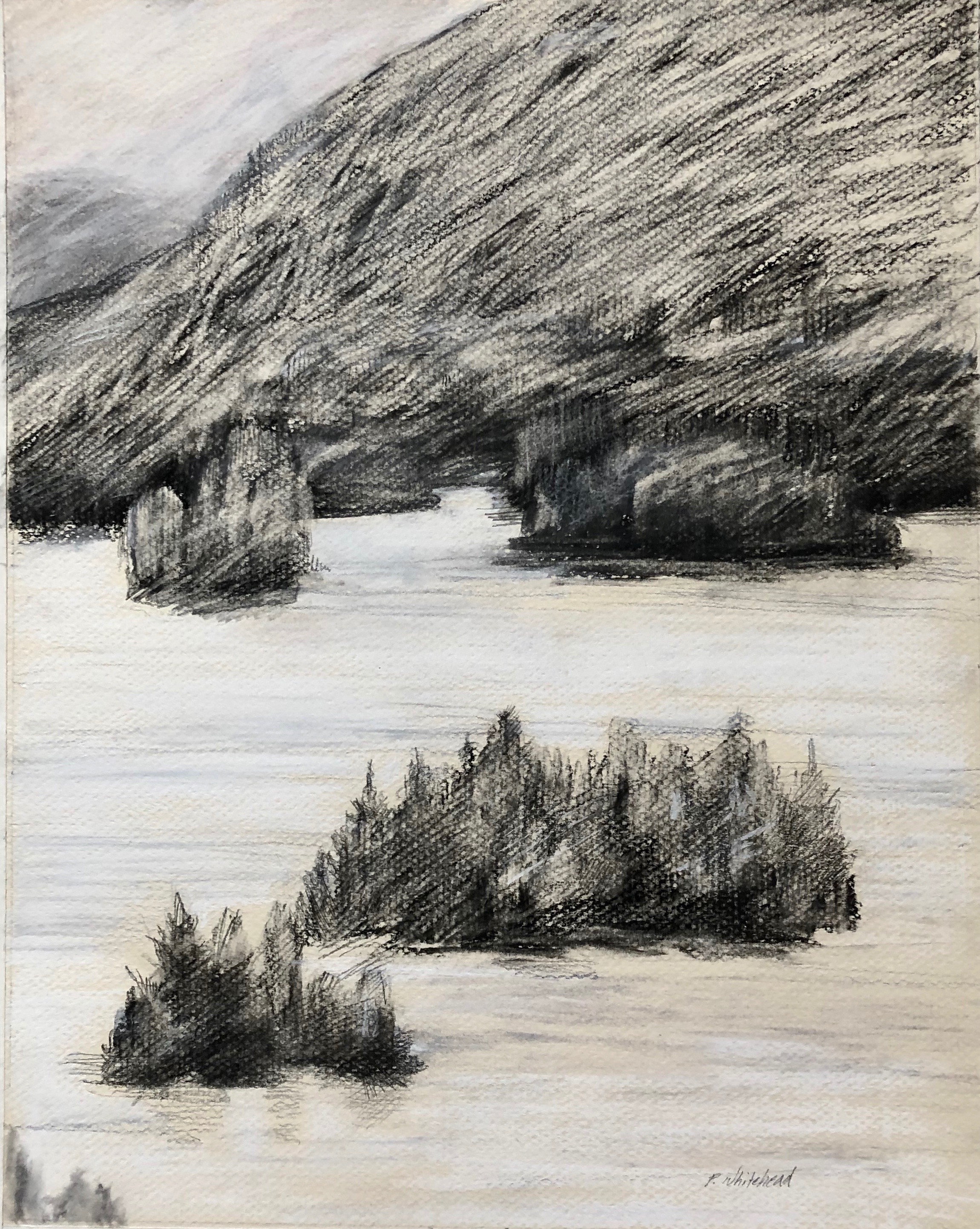 "Blue Mountain Lake, 11 x 14"", conte, graphite"