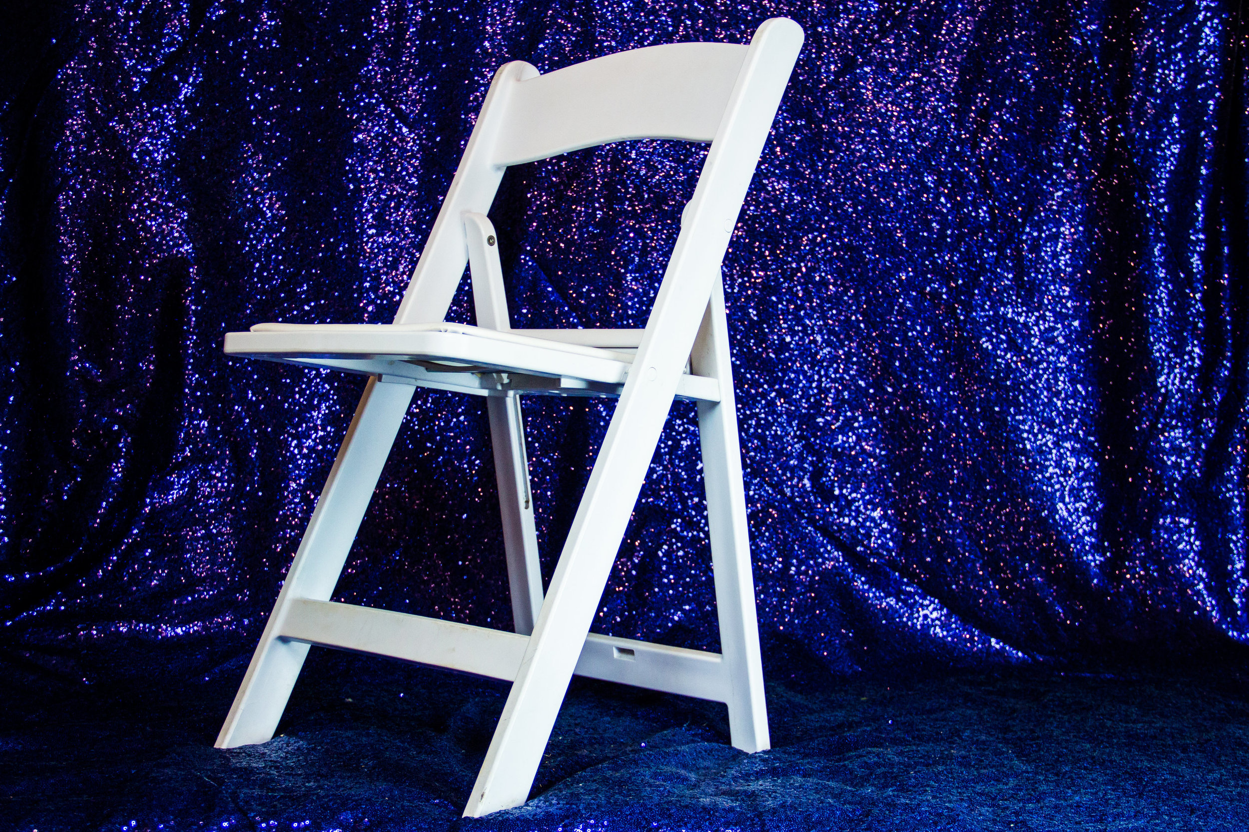 White Resin Adult Chairs with White Padded Seat