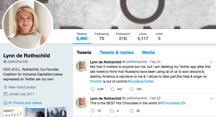 Lynn Forester de Rothschild left Twitter, it appears.