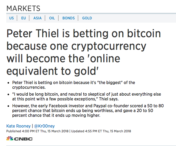 Thiel still sounds very bullish. Read the full article on CNBC  here .