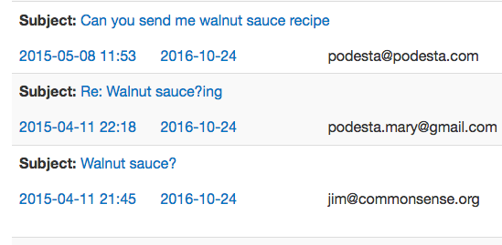 "Podesta Wikileaks revealed an interest in ""walnut sauce."""