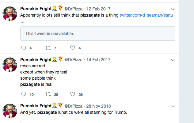 Dr. Pizza took personal exception to our founder's truthful groundbreaking coverage of Pizzagate, Pedogate, or whatever you want to call it.