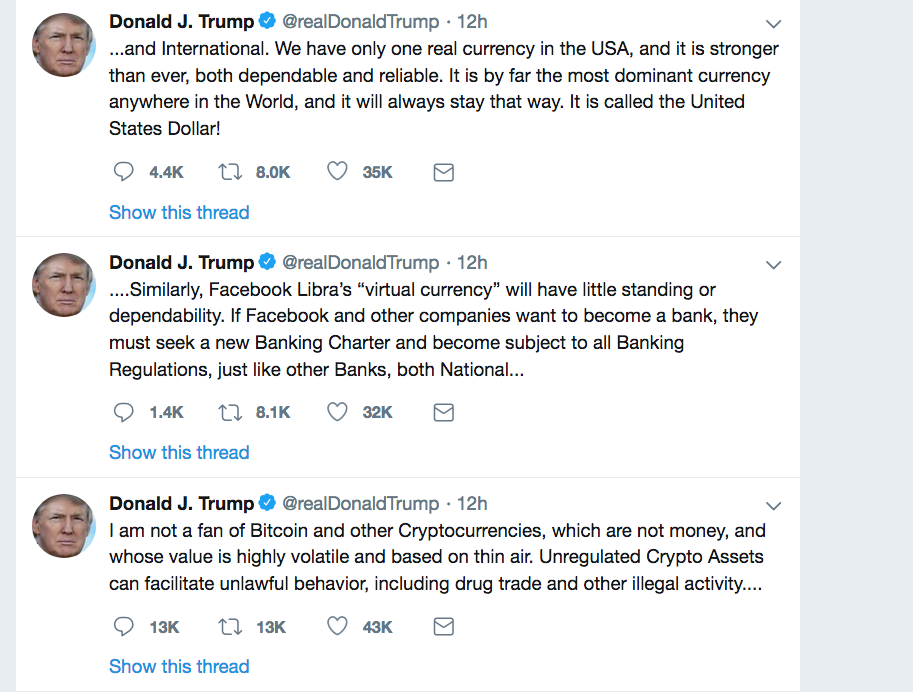 """Not a fan of Bitcoin and other Cryptocurrencies, which are not money…"""
