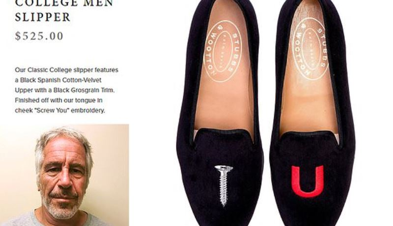 Epstein's black Spanish cotton-velvet slippers had a message for the world.
