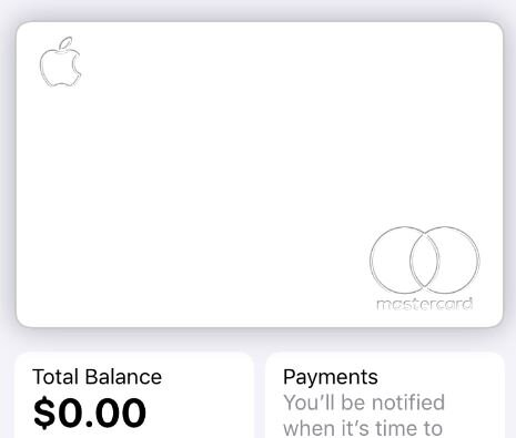 Screenshot of our newly configured Apple Card, which you can find within the Wallet App after signing up.