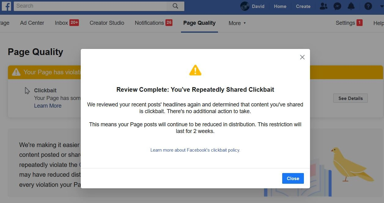 "A ""restriction"" is applied to our business account, for 2 weeks, as punishment for posting a truthful, non-sensational  article  about the arrest and charging of Ed Buck, a Hillary Clinton ""mega-donor."""
