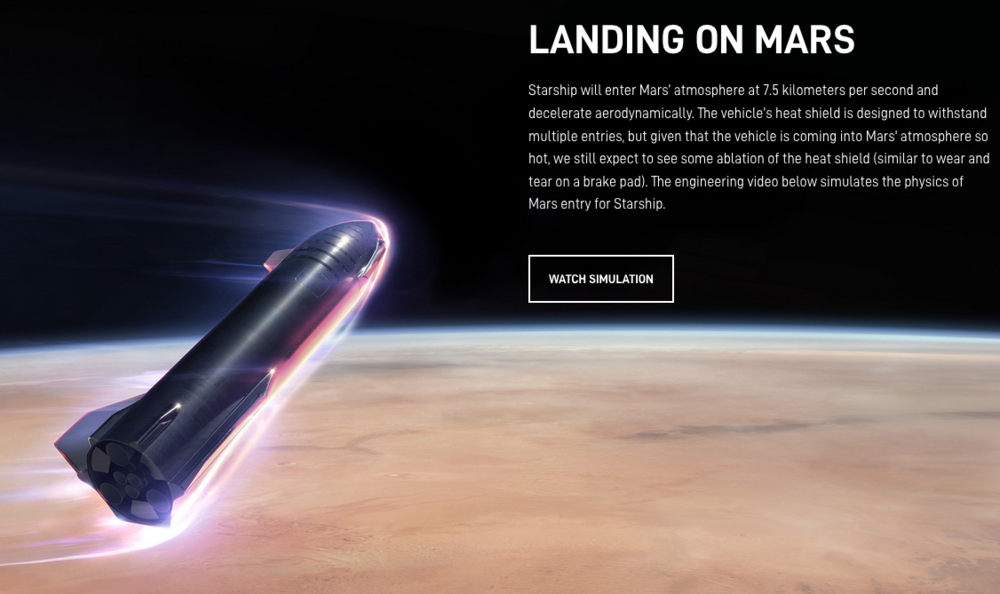 The Starship vehicle information page on SpaceX's company web site .