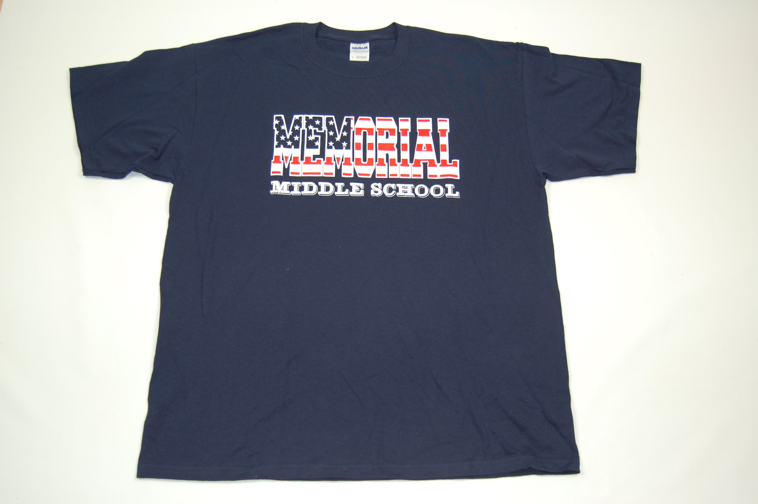 Memorial Middle School Stars & Stripes short sleeve T-Shirt.