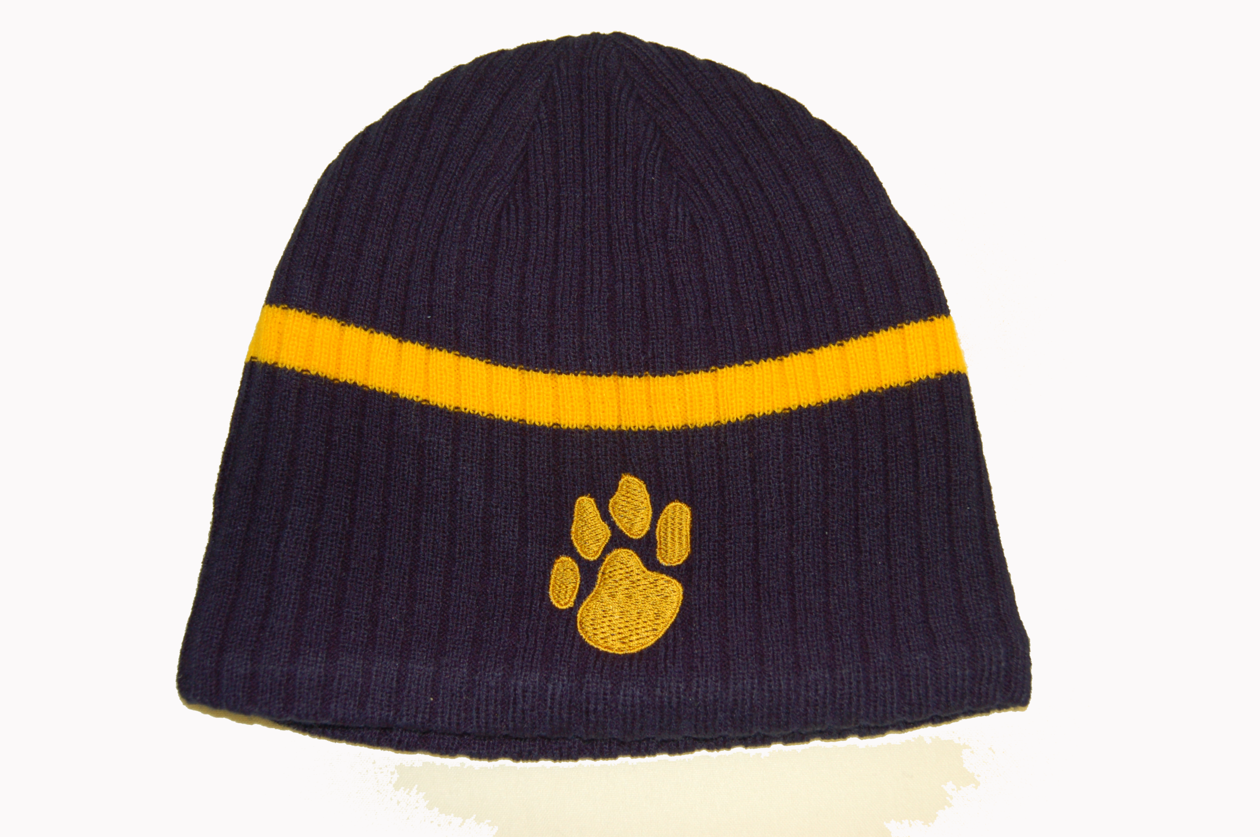 Navy & Gold beanie with embroidered paw.