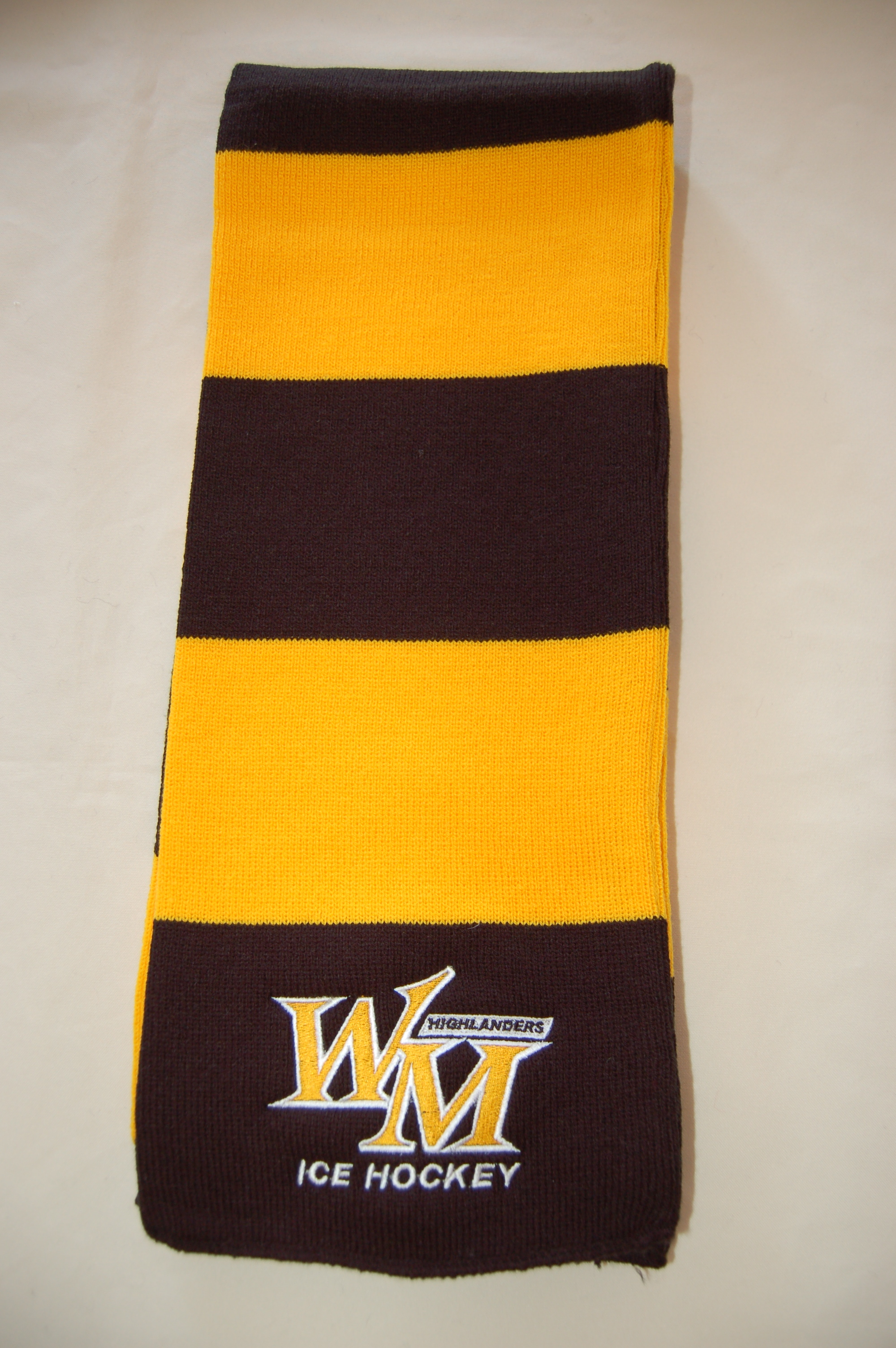 West Milford Highlanders Ice Hockey embroidered scarf.