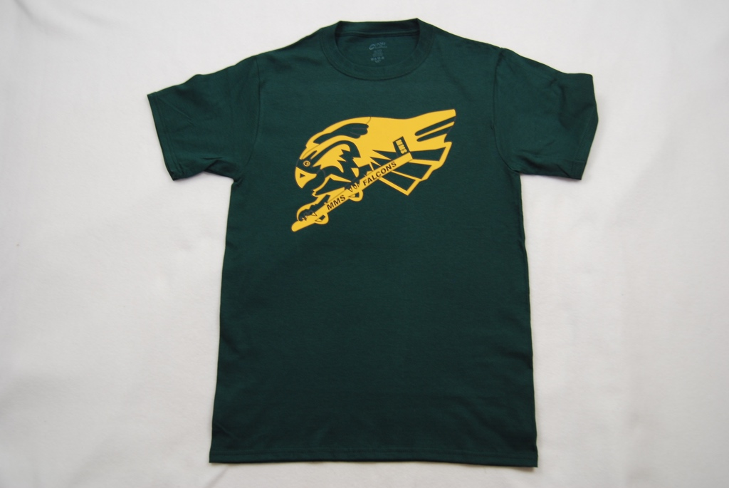 Memorial Middle School falcon T-shirt.