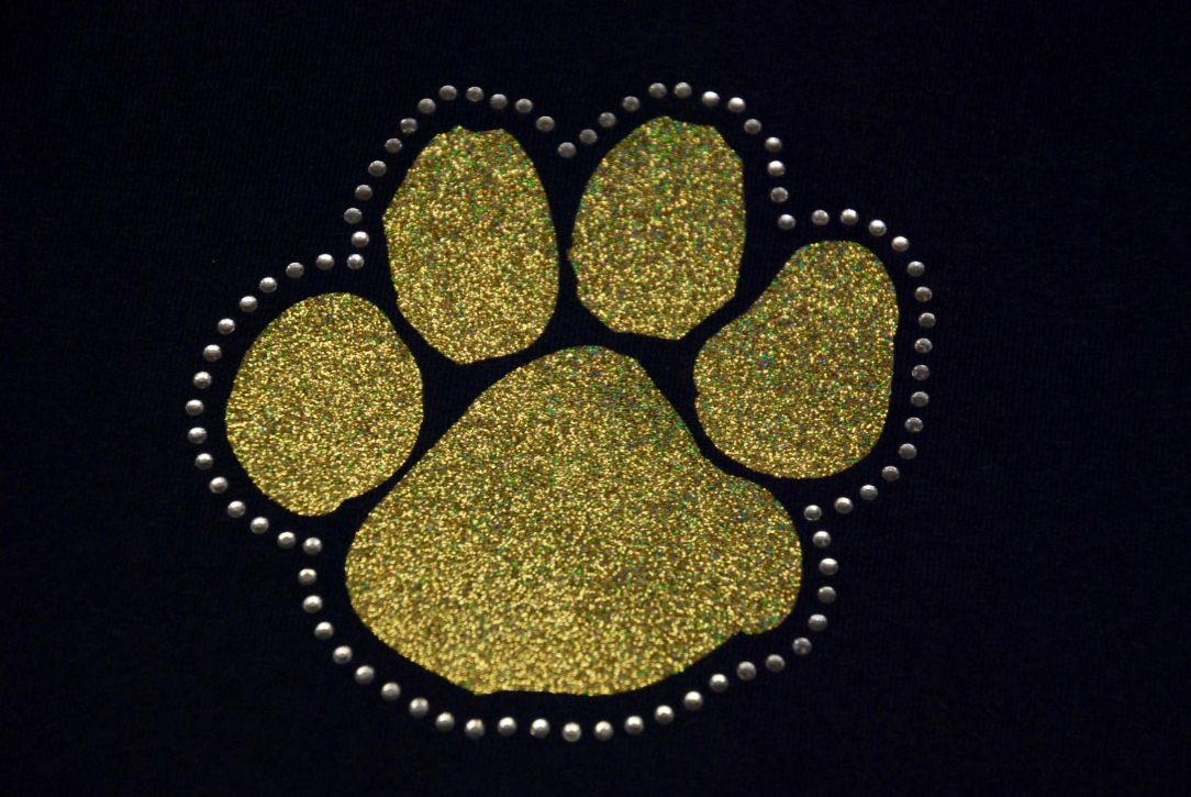 Paw in gold glitter with clear crystal rhinestones