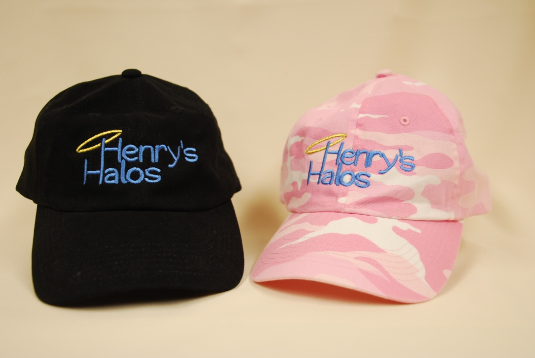 Henry's Halos embroidered in blue with citrine rhinestones.