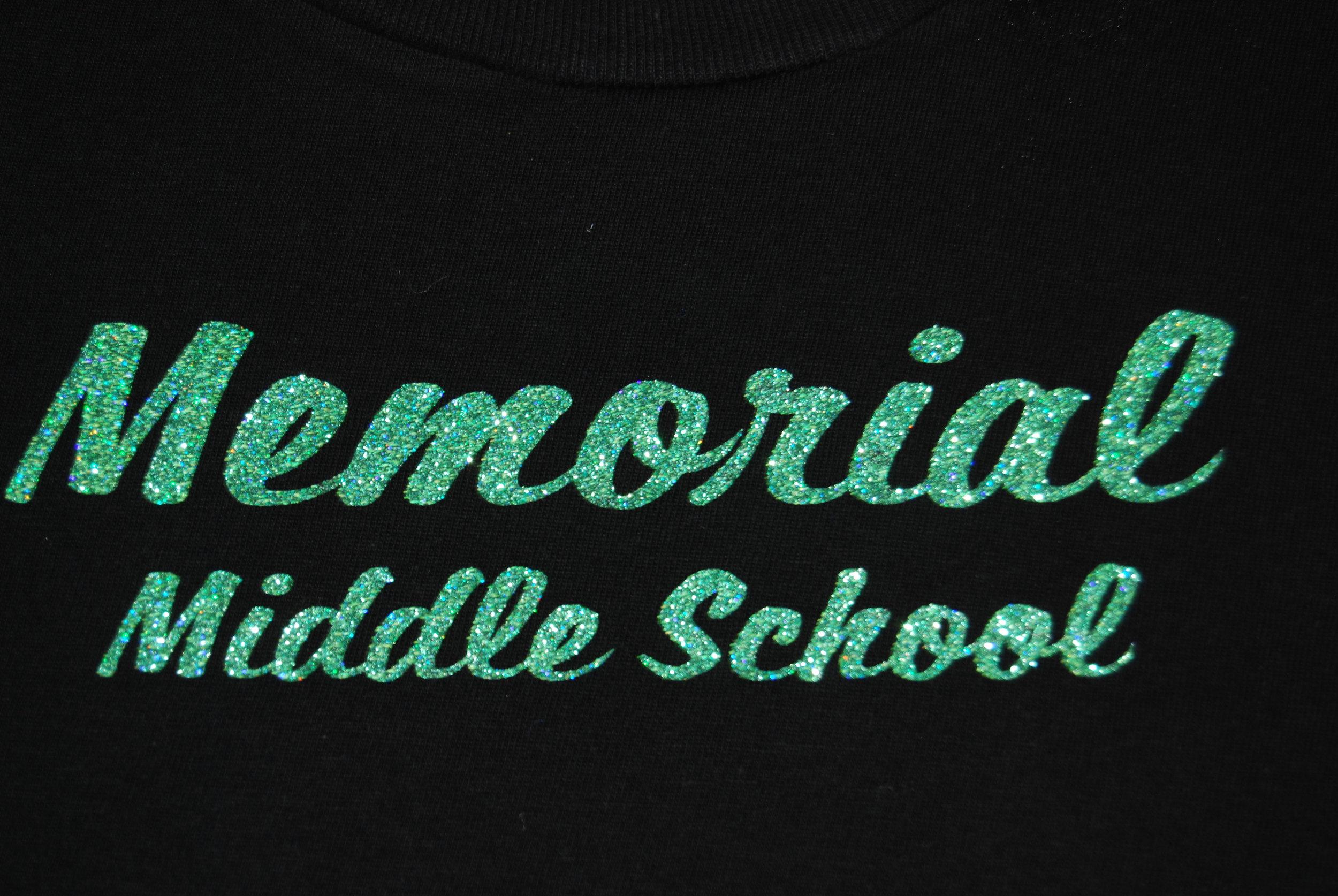 Memorial Middle School in green glitter
