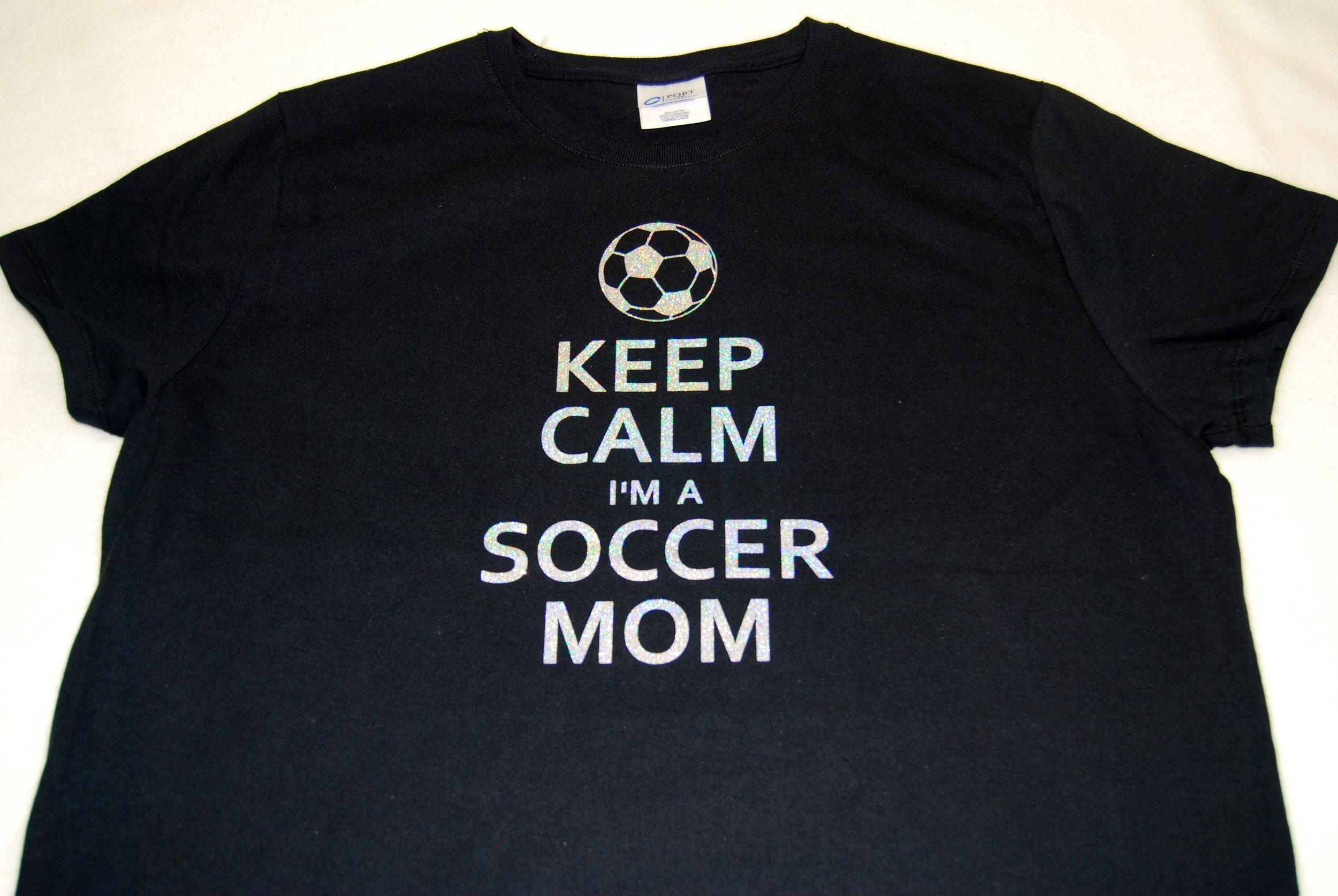 Keep Calm I'm A Soccer Mom in silver glitter