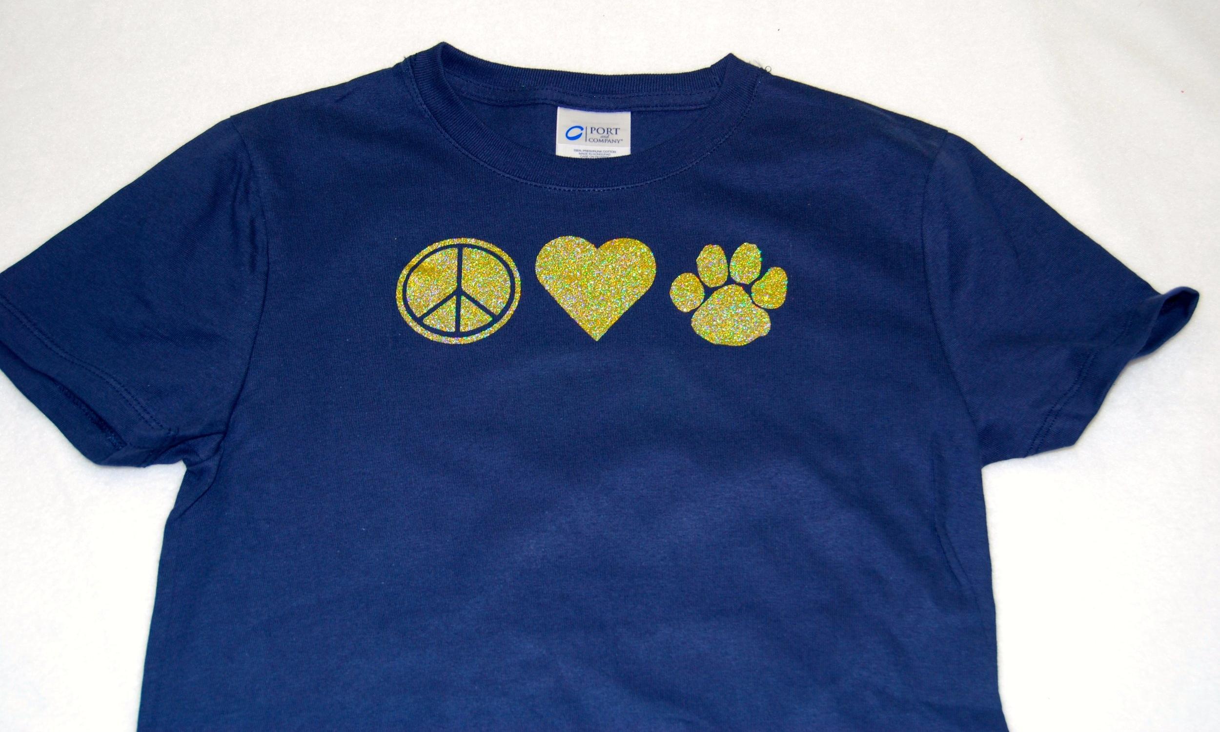 Peace-Love-Paw in gold glitter