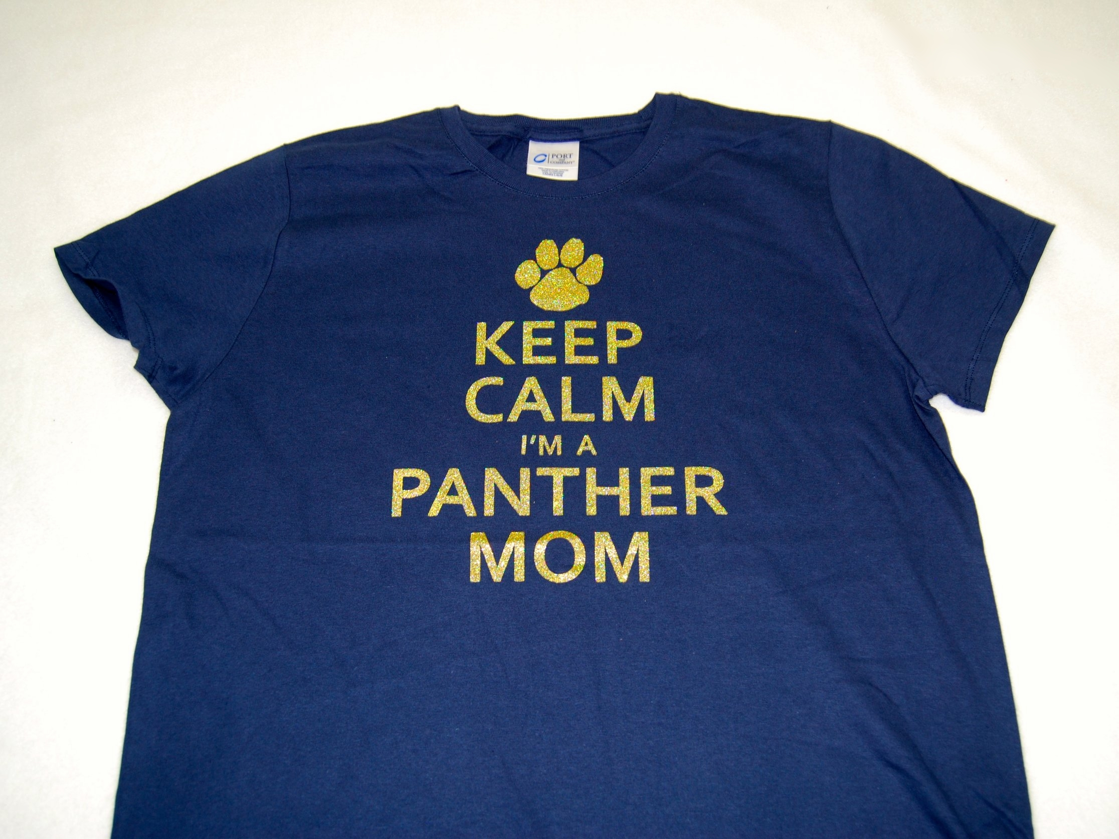 Keep Calm I'm A Panther Mom in gold glitter