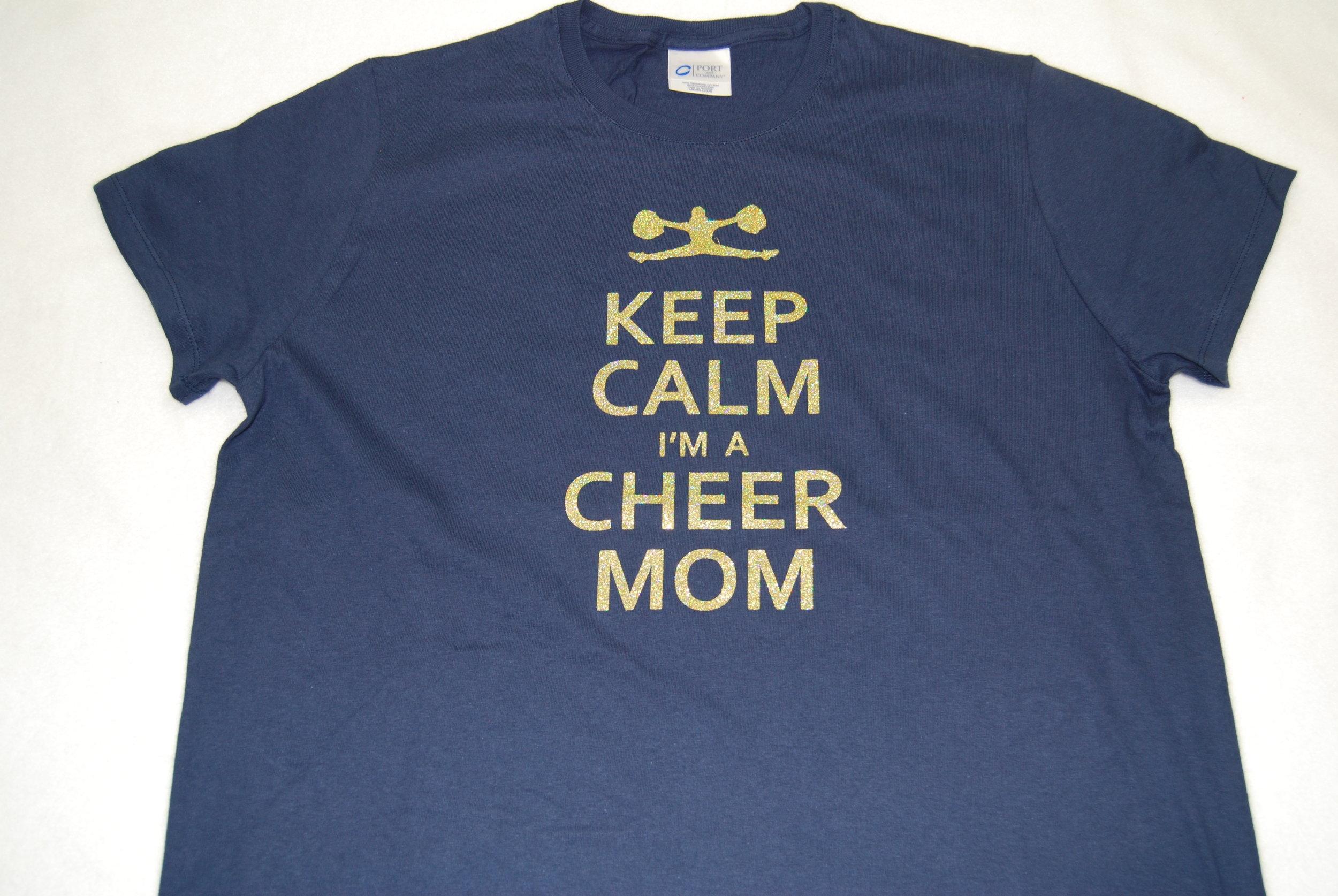 Keep Calm I'm A Cheer Mom in gold glitter