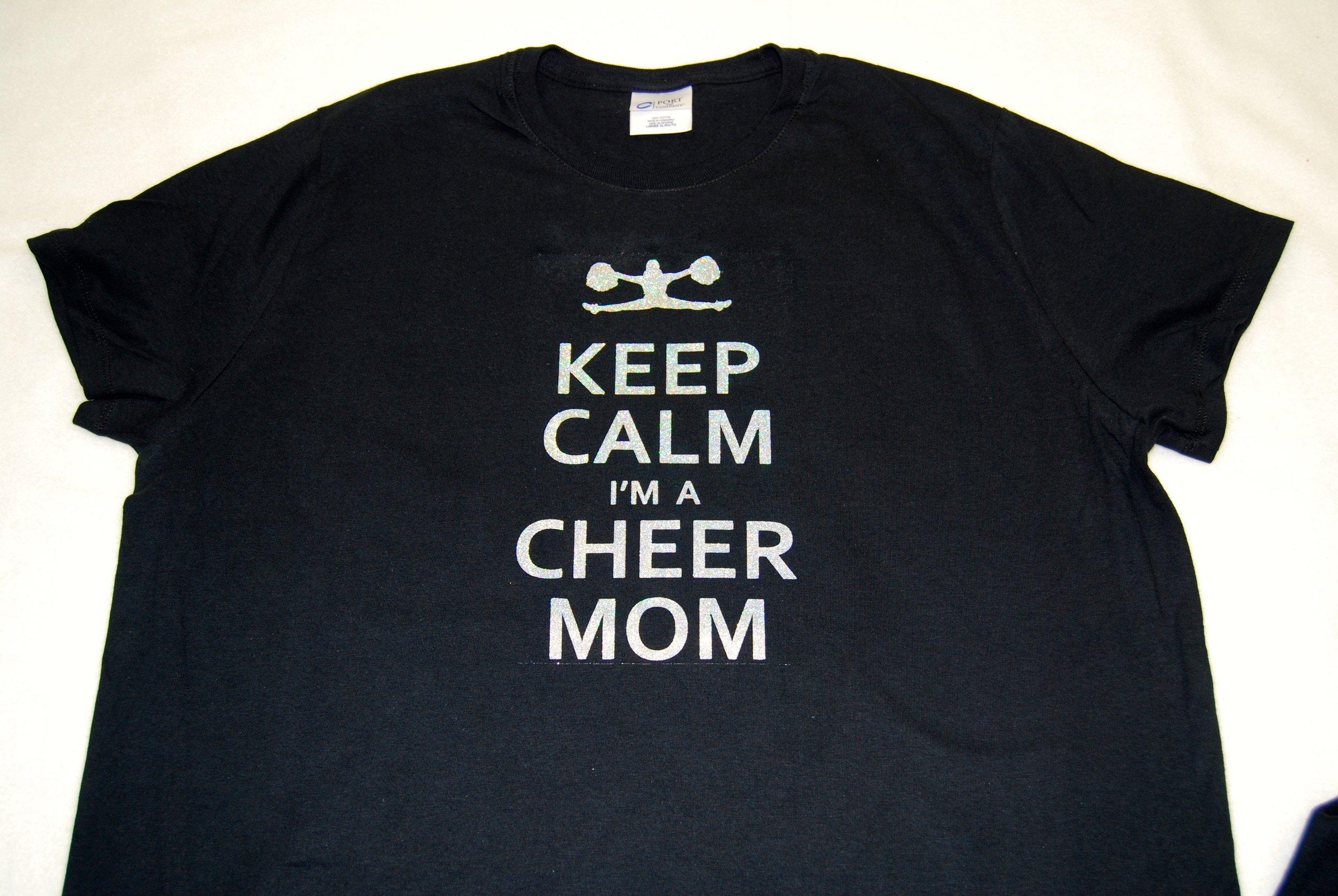 Keep Calm I'm A Cheer Mom in silver glitter