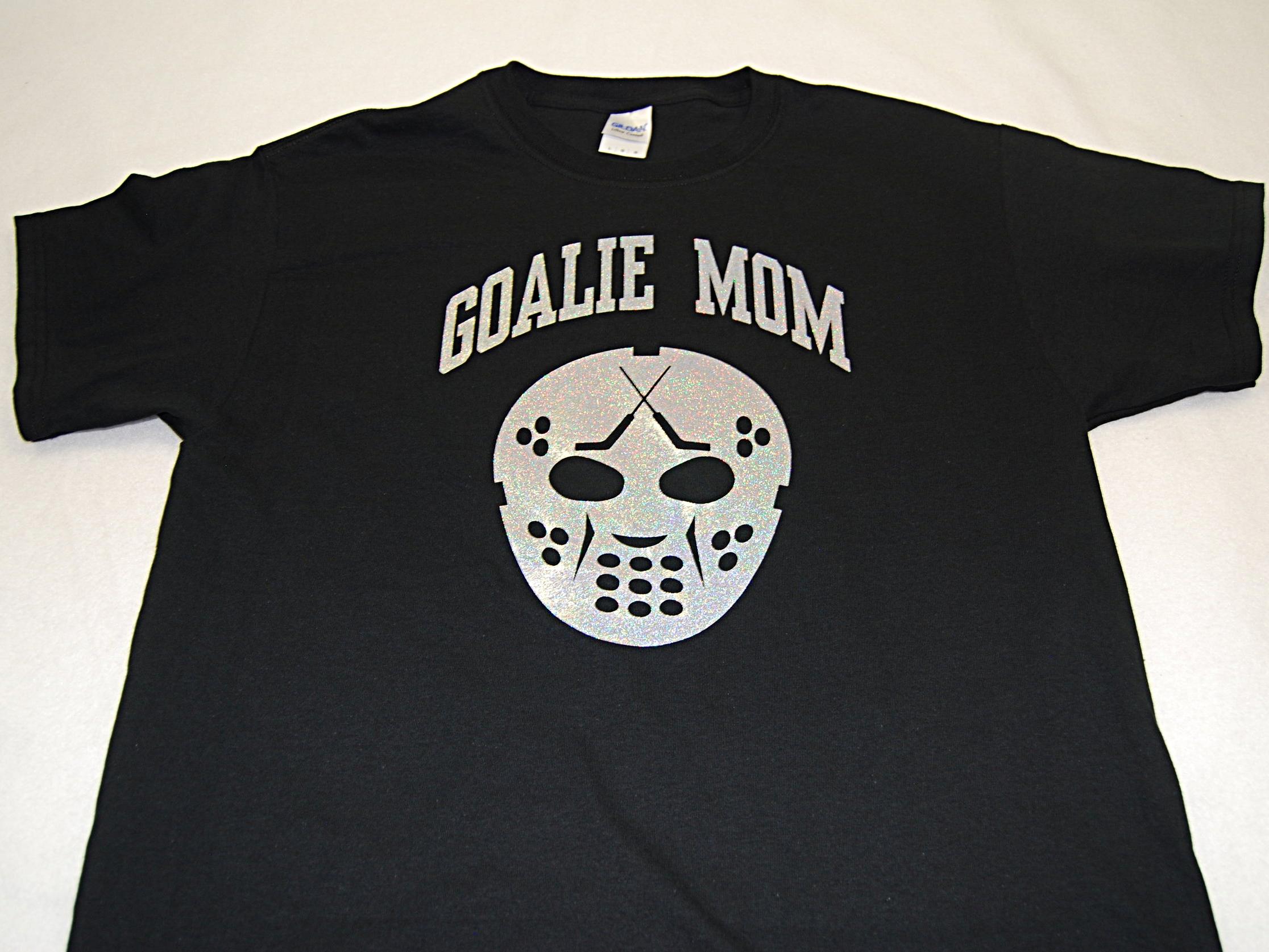 Goalie Mom w/Mask in silver glitter