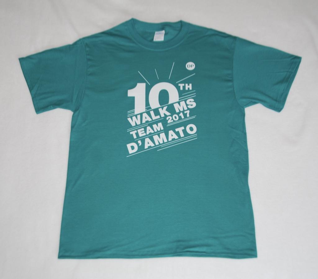 Team D'Amato Walk MS 10th Anniversary T-Shirts.
