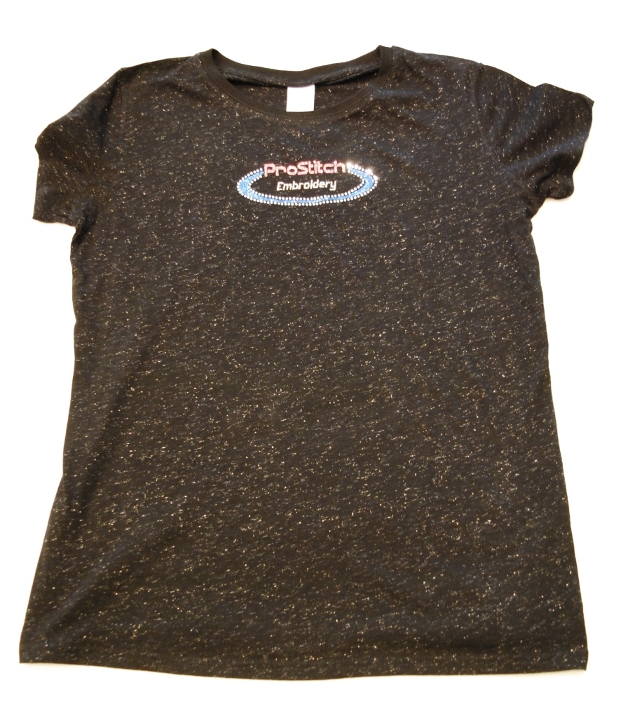 ProStitch Embroidery women's glitter T-Shirt decorated with Red and Blue glitter, metallic thread, and clear rhinestones.