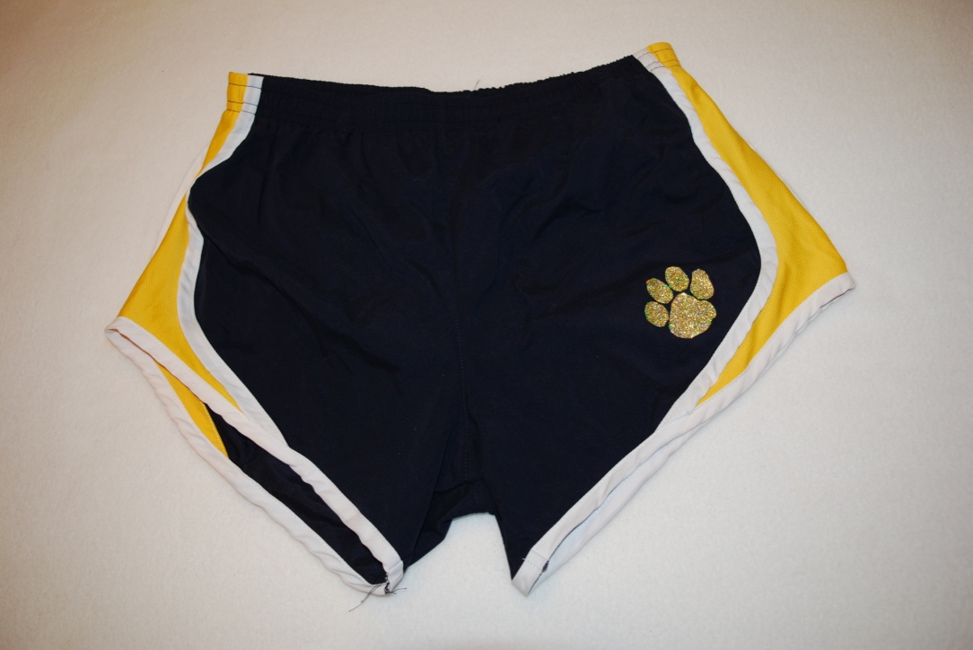 Cheer shorts with gold glitter paw