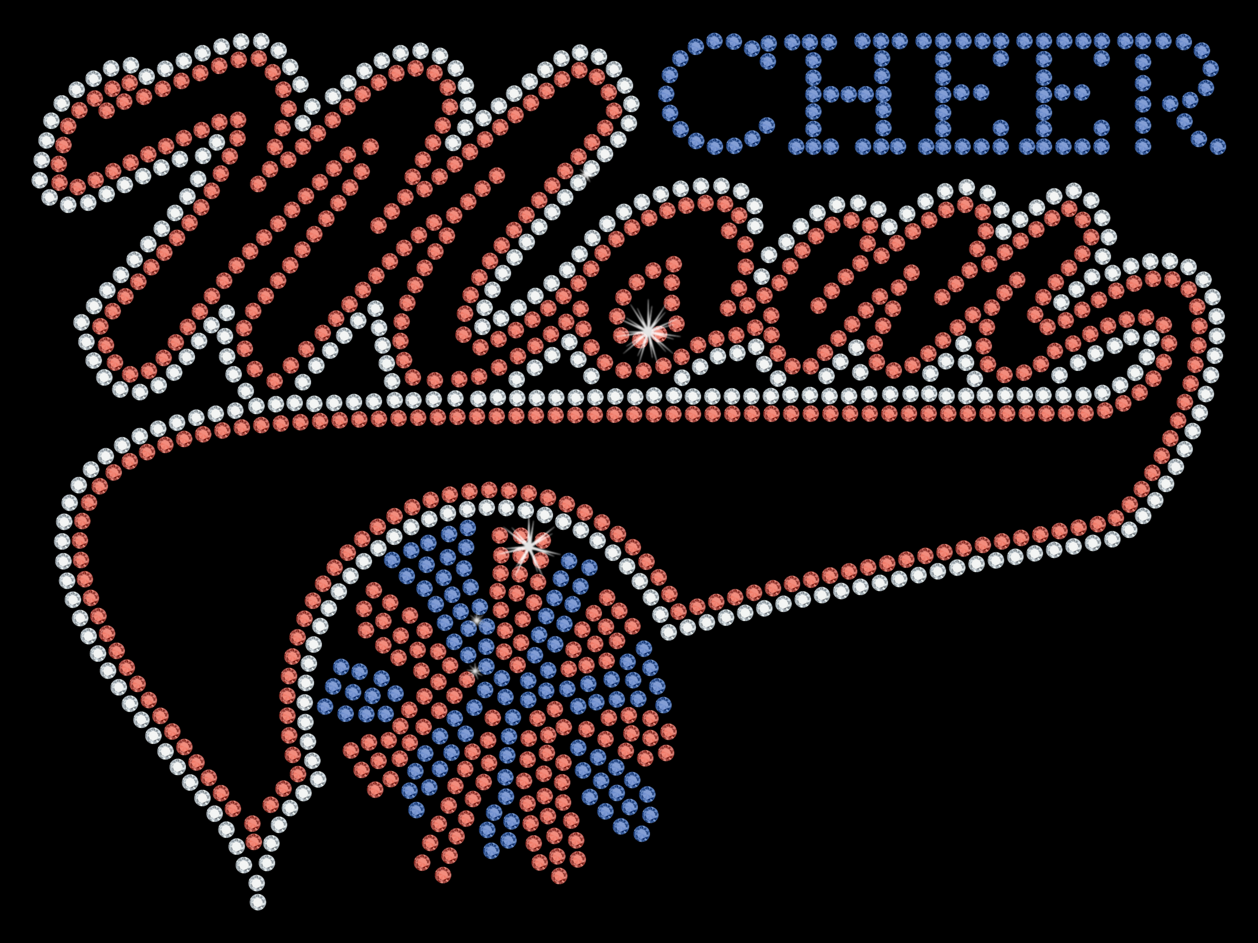 Cheer Mom in clear, red, and blue crystal rhinestones.