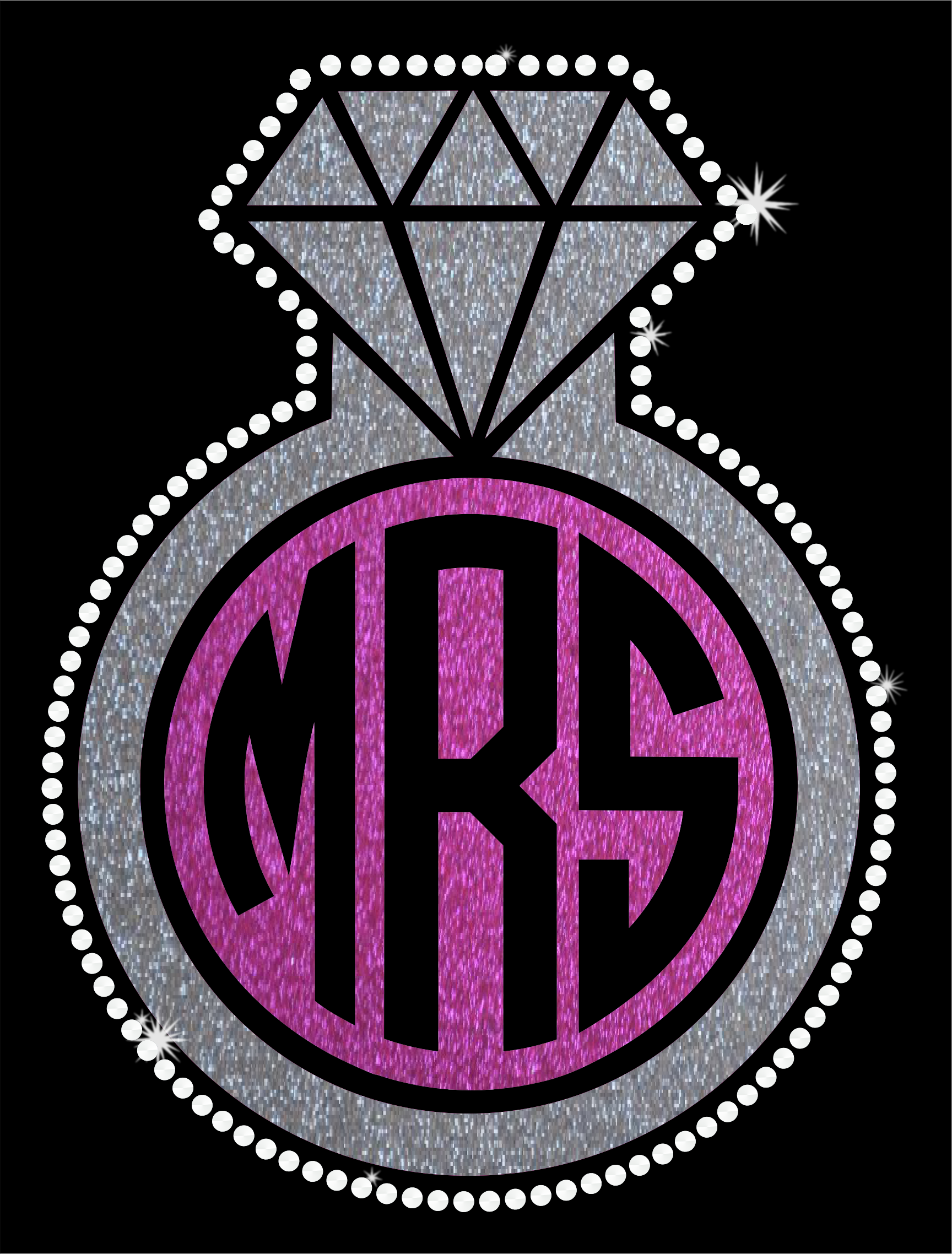 MRS. monogram diamond ring in silver and pink metallic glitter and clear crystal rhinestones.