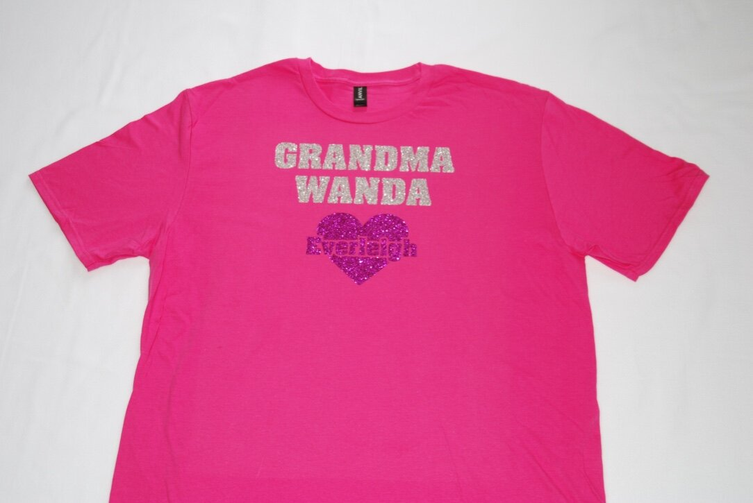 Grandma Wanda created using silver, hot pink, and blue glitter.