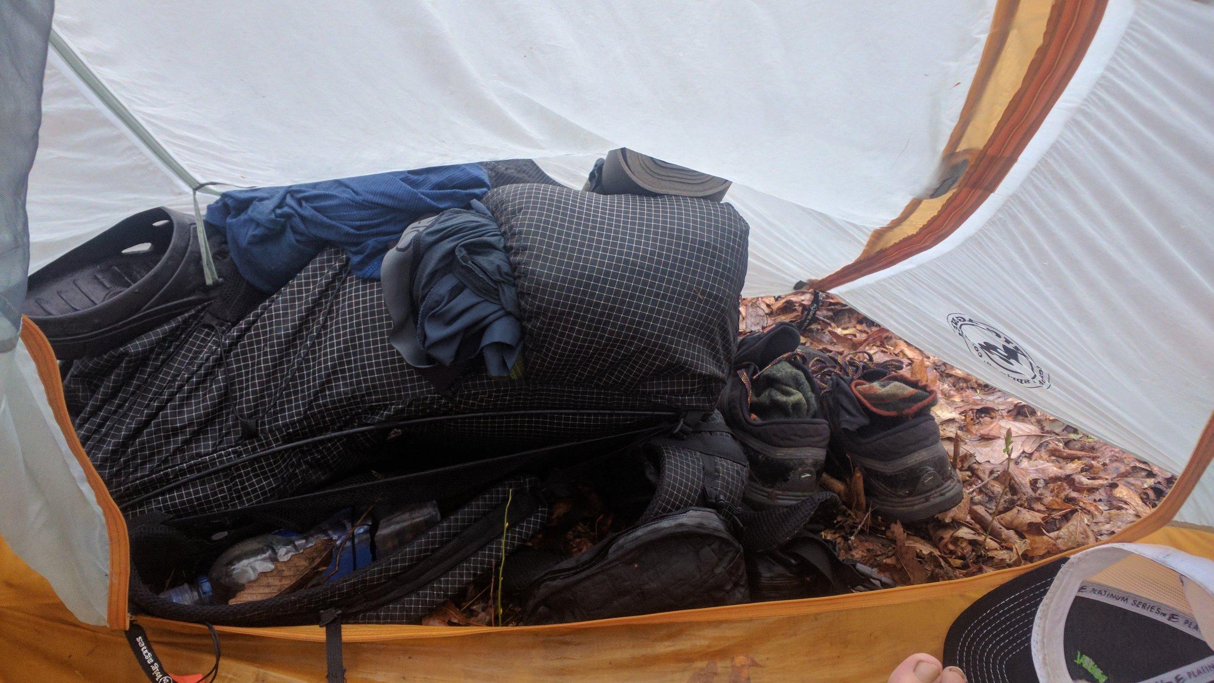 All of my wet gear in my tiny vestibule.