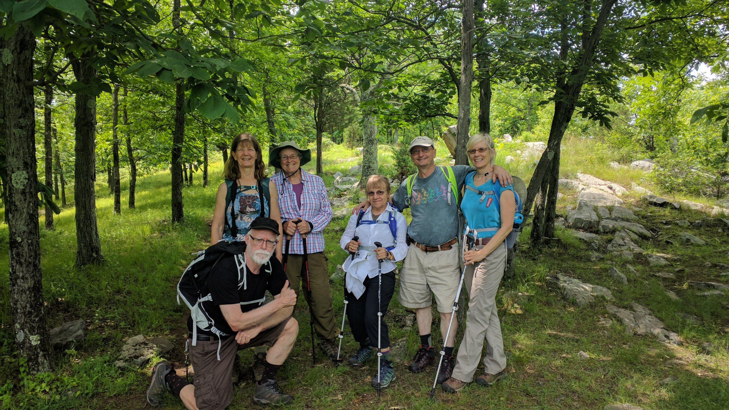 Our amazing, fun Trail Angels!   Ken, Evelyn, Pat, Doreen, Dave, and Kelly.